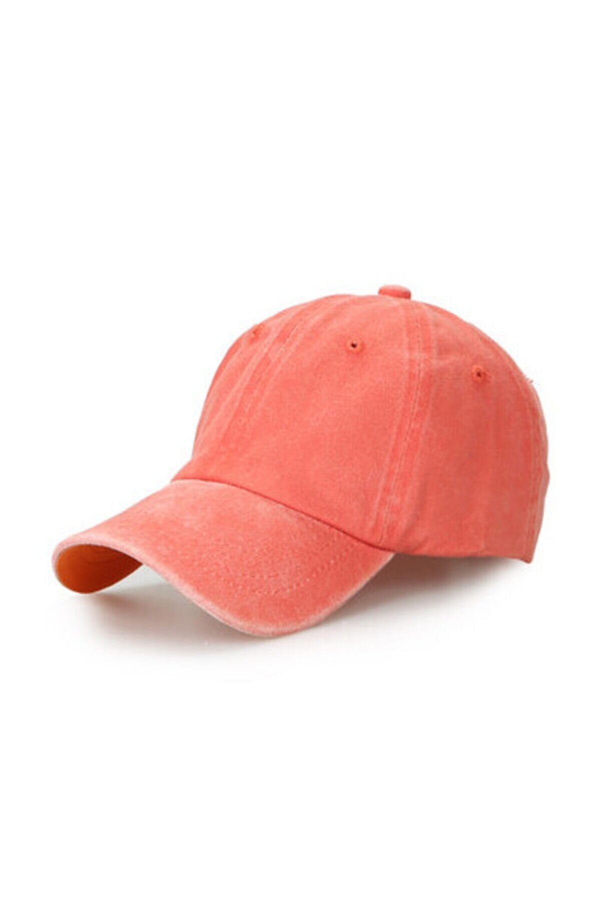 CosmoOutlet Düz Renk Yıkamalı Somon Şapka