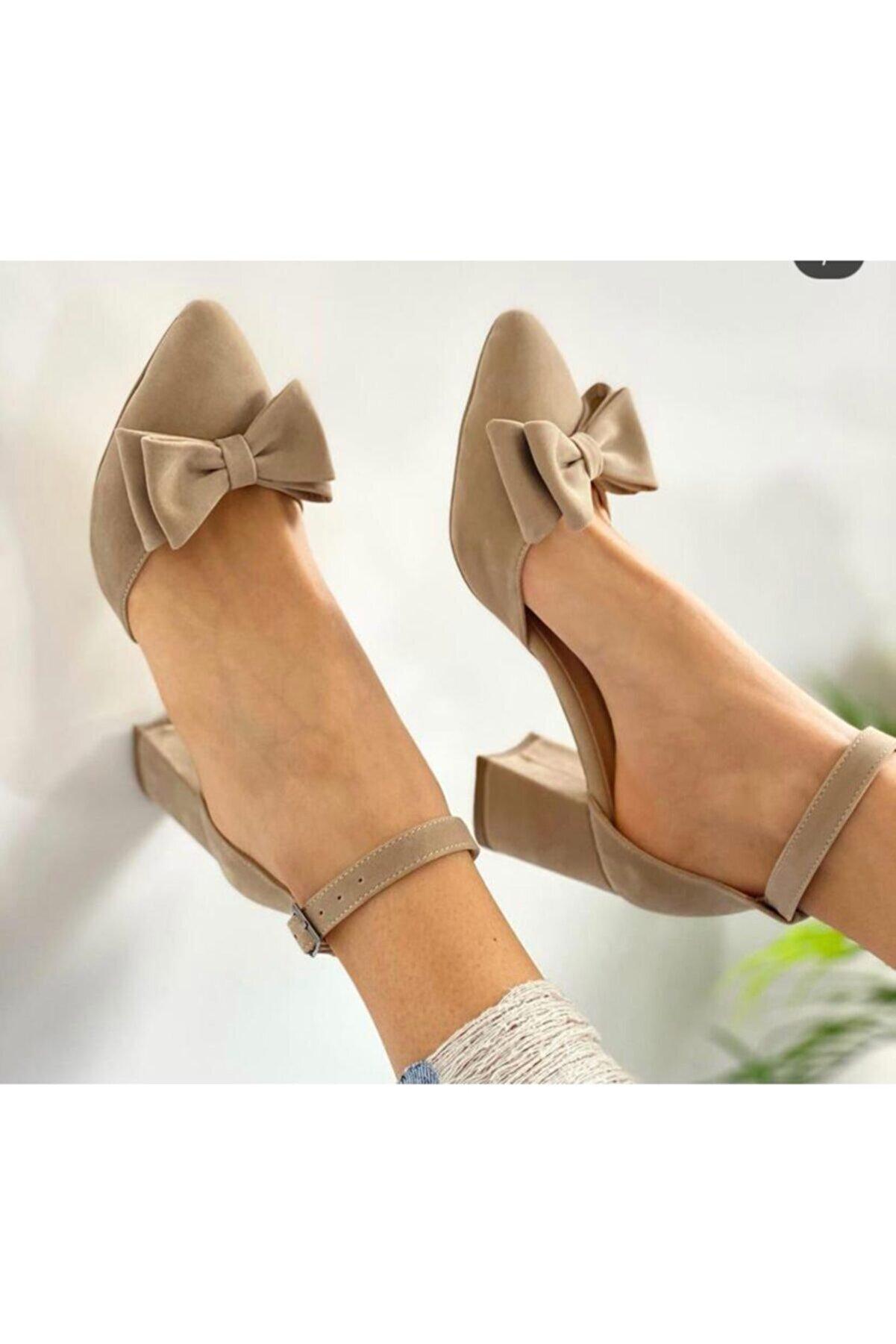 BY MAY SHOES Kadın Topuklu Fiyonk Modellı Ayakkabısı