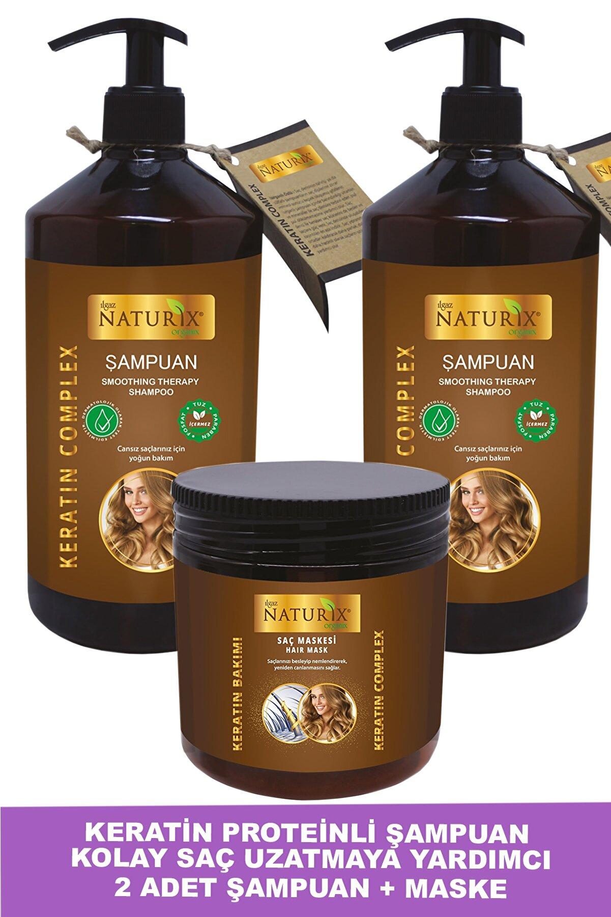 Ilgaz Naturix Organix Tuzsuz Keratin Şampuan 2 Adet 600 ml Onarıcı Bakım Şampuanı 500 ml Keratin Bakım Maskesi