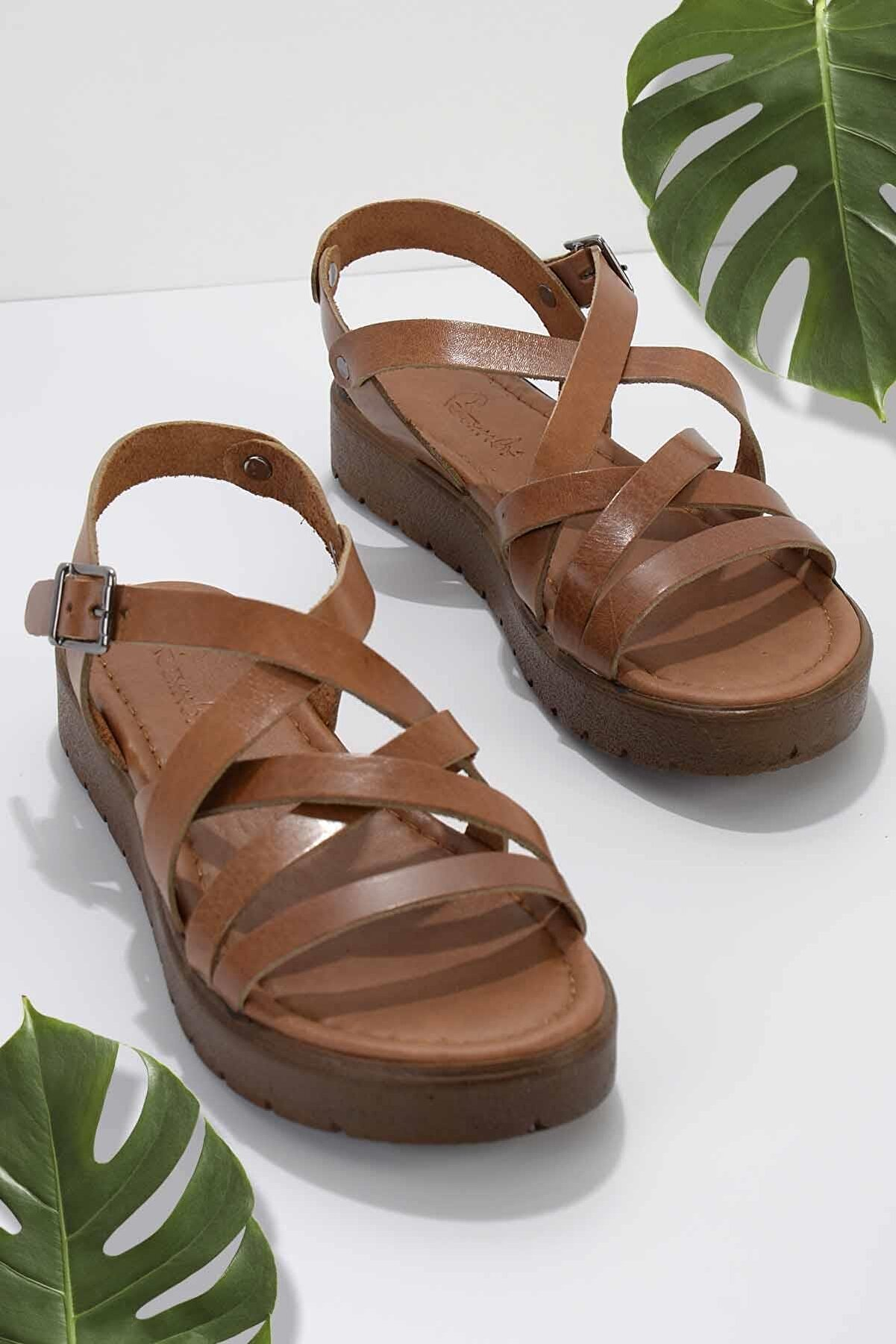 Bambi Taba Hakiki Deri Kadın Sandalet K05826001103