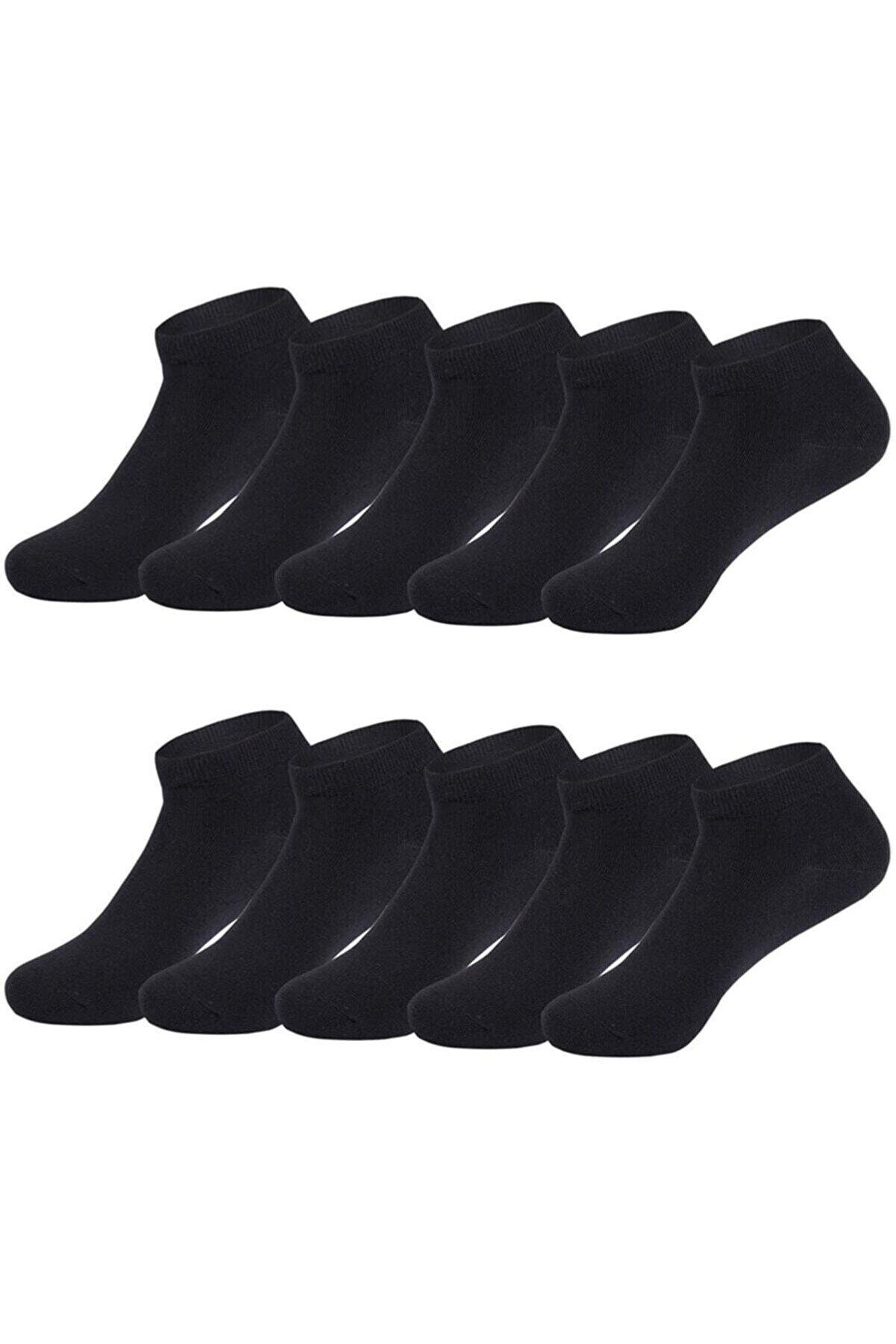 SOCKSHION Siyah Pamuklu Bilek Boy Çorap 10lu