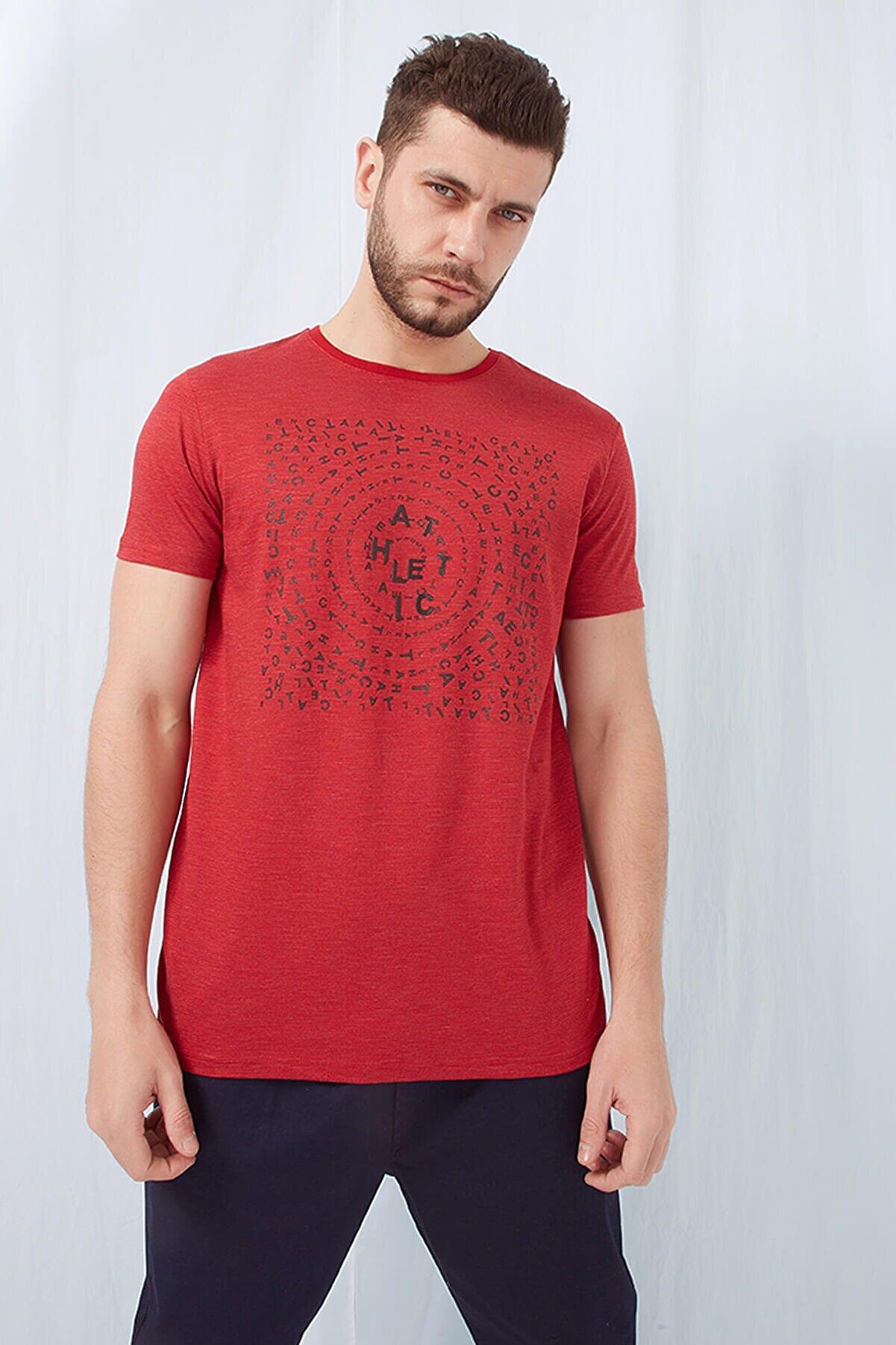 Fashion Friends Baskılı T-shirt Kırmızı Melanj