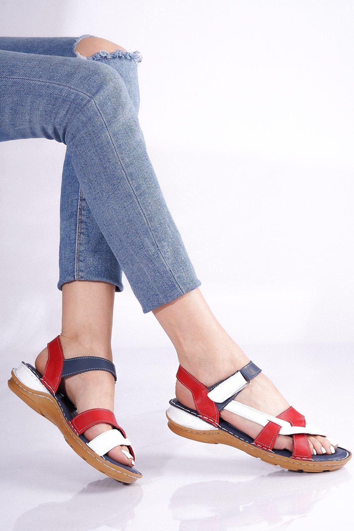 RİKEL DERİ Hakiki Deri Lacivert Beyaz Kırmızı Kadın Sandalet