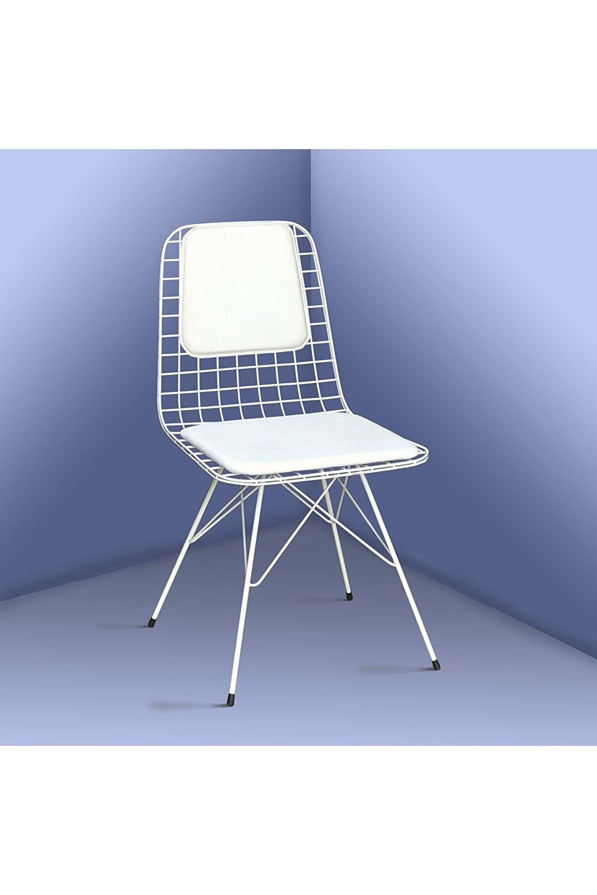 Theia Tasarım Minderli Beyaz Tel Sandalye