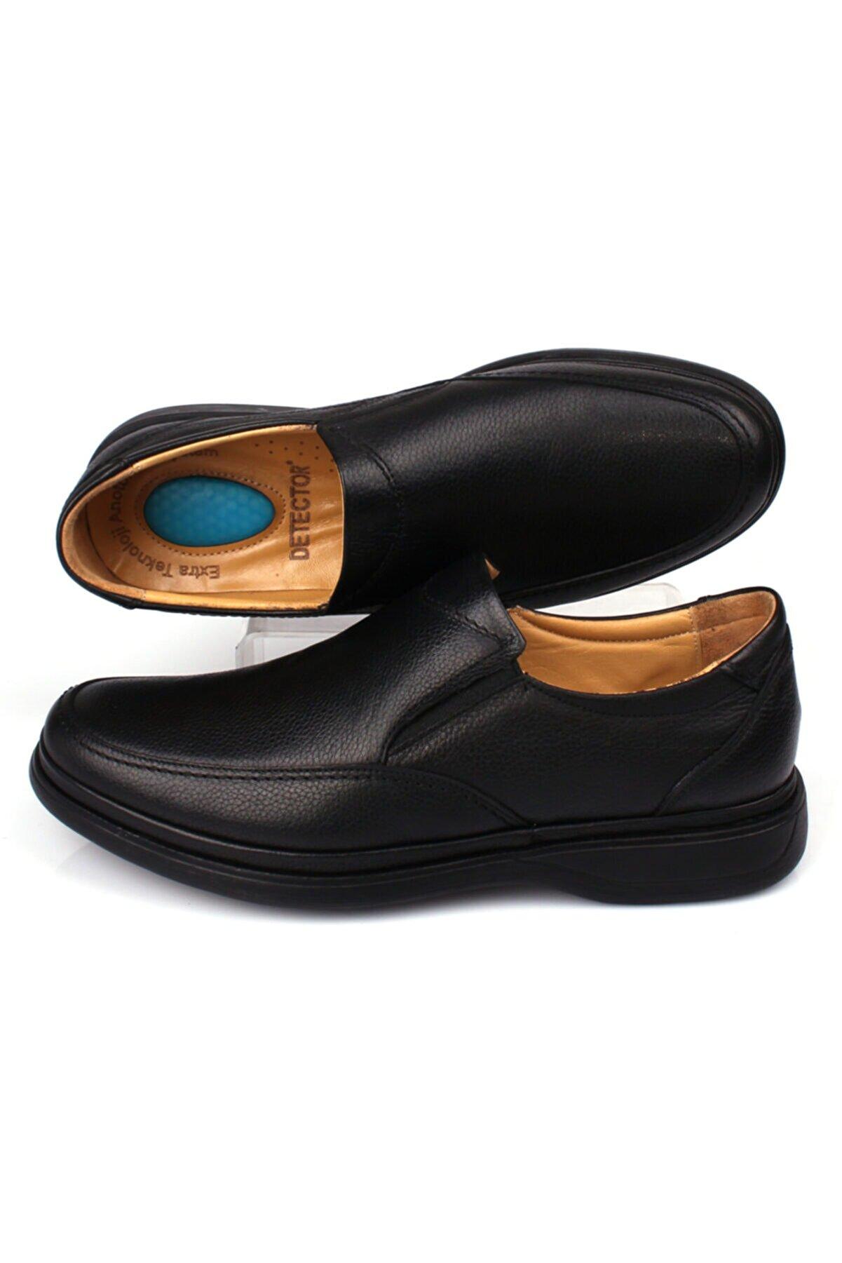 DETECTOR Erkek Siyah İç Dış Hakiki Deri Ful Ortopedik Jel Taban Günlük Ayakkabı