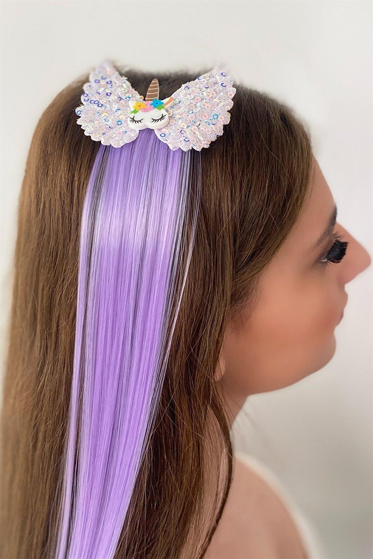 Takıştır Mor Renk Pullu Unicorn Figürlü Saçlı Yan Toka