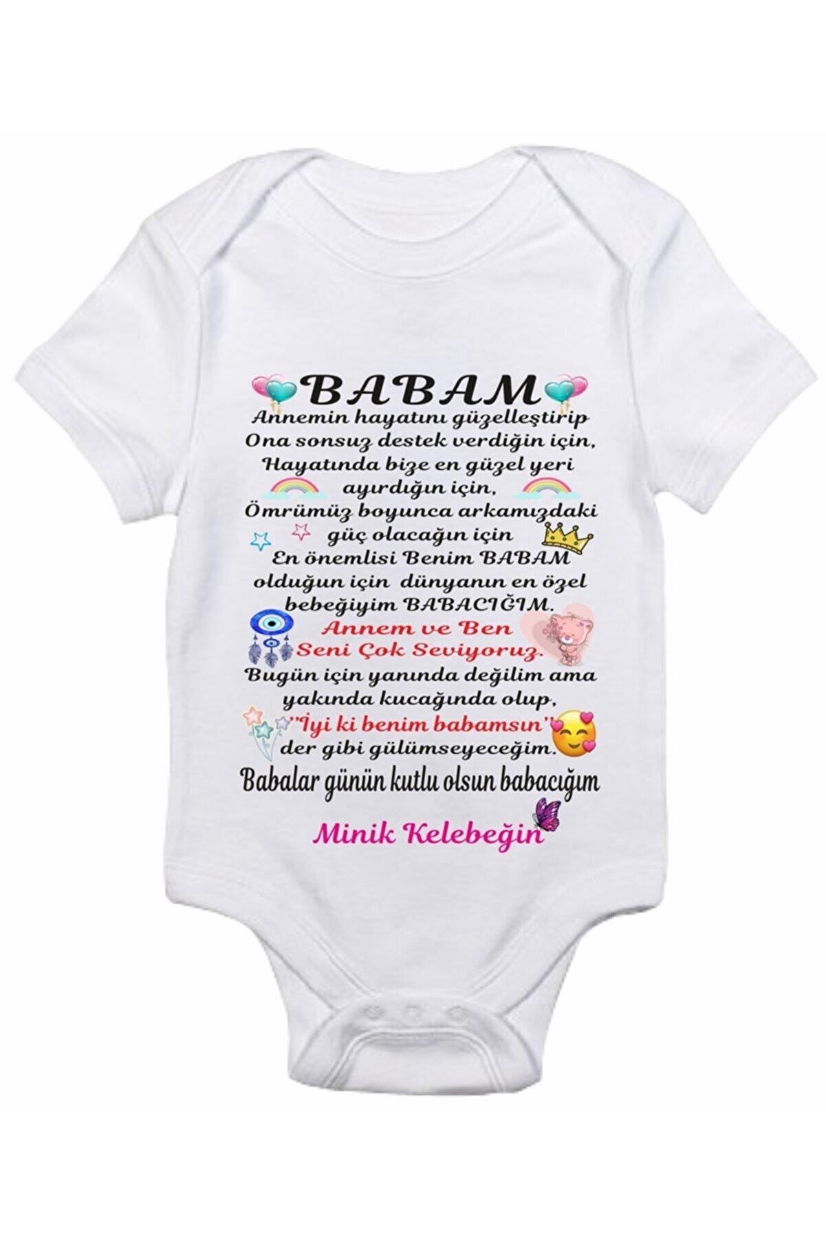 venüsdijital Babalar Günü Hediyesi Model 17 Baskılı Bebek Body Zıbın