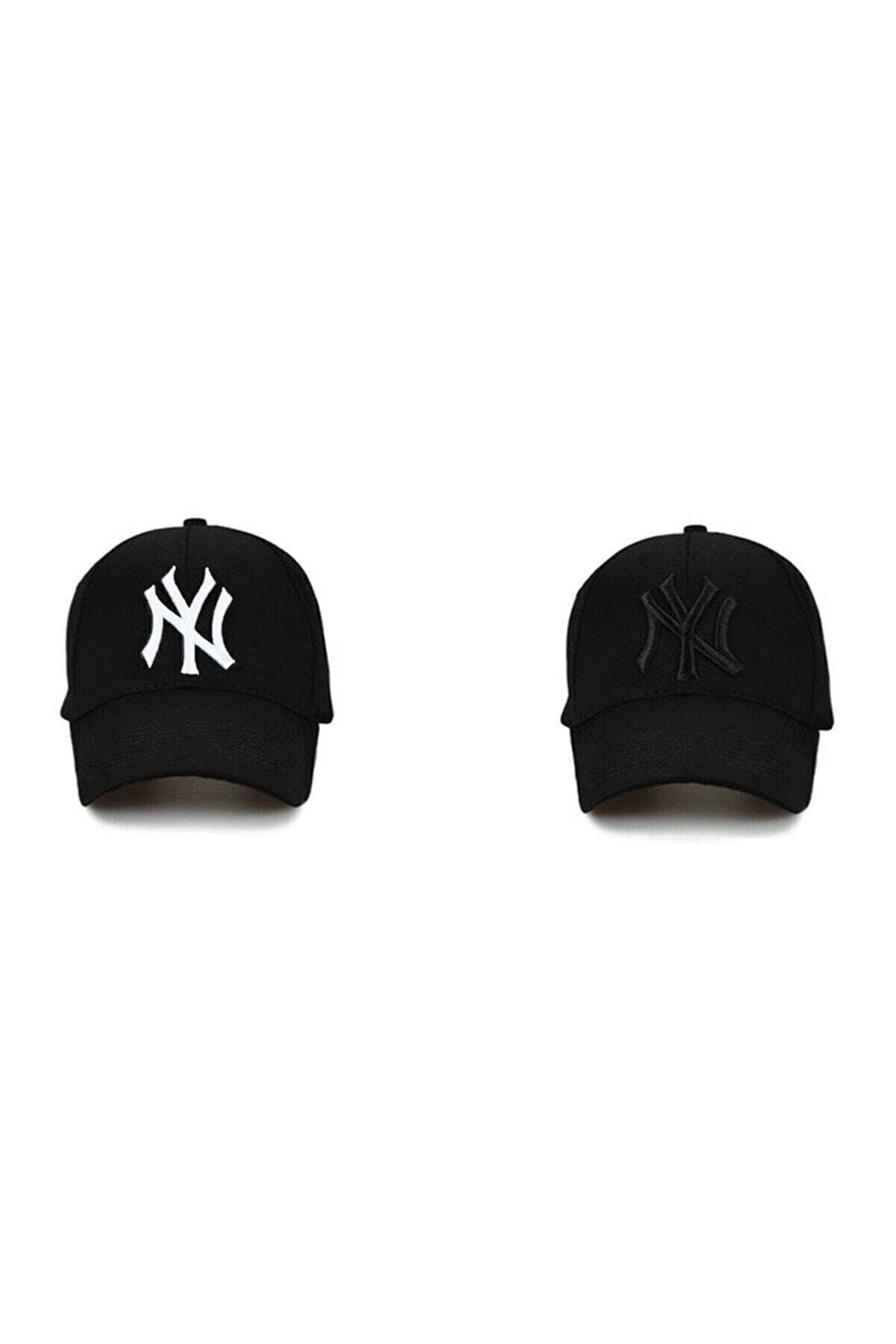 NuxFah Ny New York Şapka Unisex Siyah Şapka 2'li Ikili Set