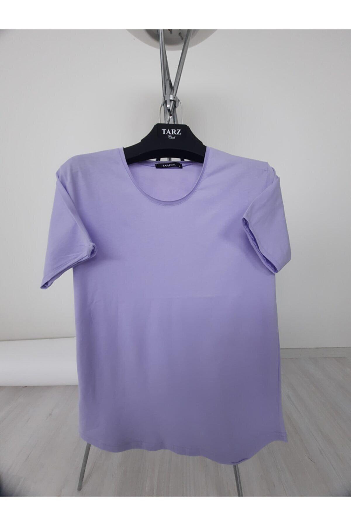 Tarz Cool Erkek Lila Pis Yaka Salaş T-shirt