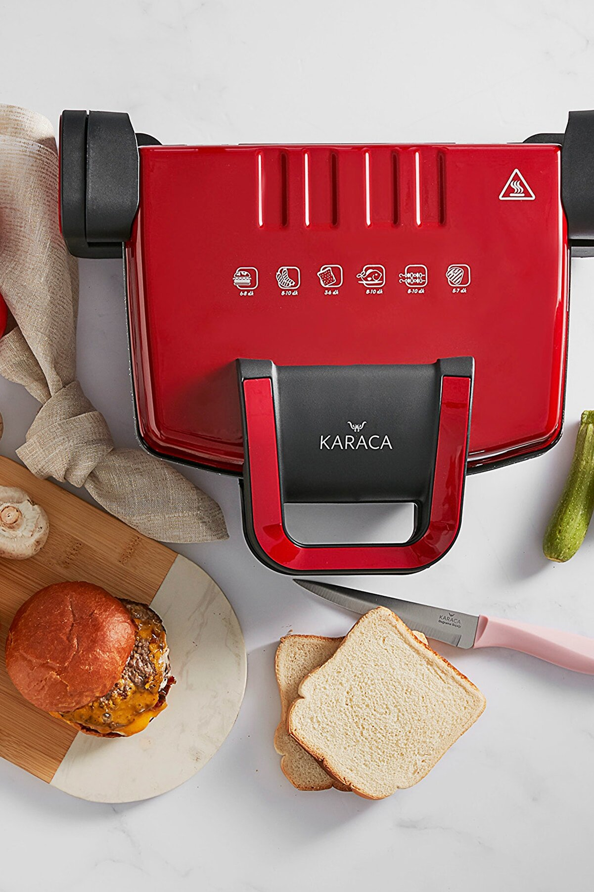 Karaca Future Granit Kırmızı Tost Makinesi 1800W