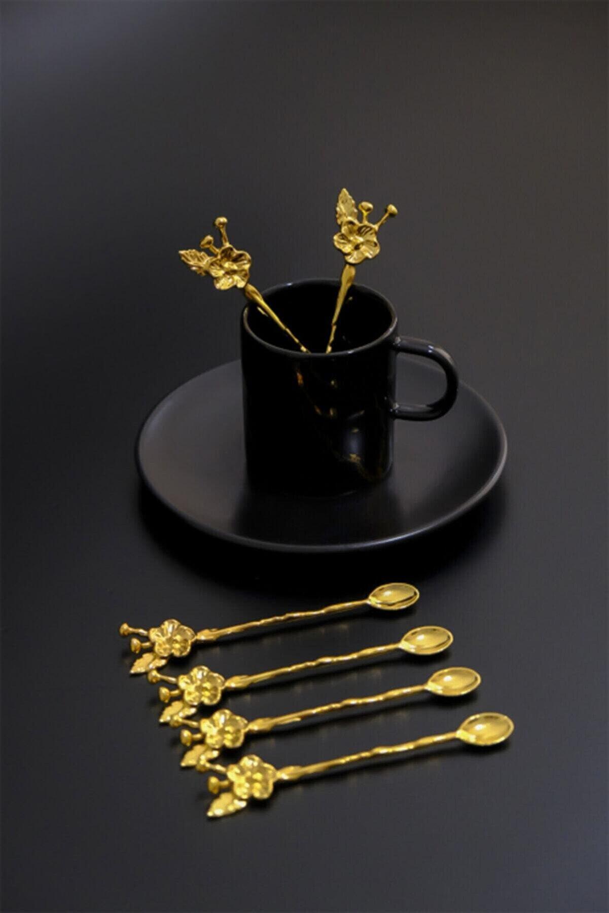 vipgross 6 Kişilik Lüx Çay Kaşığı Gold Japon Gülü