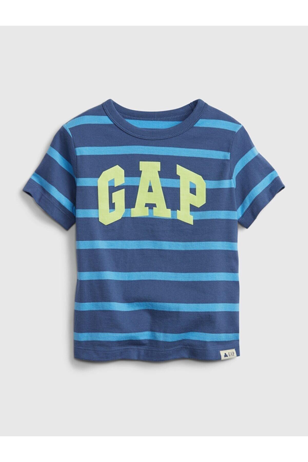 GAP Erkek Bebek Mavi Organik Pamuklu Logo T-shirt