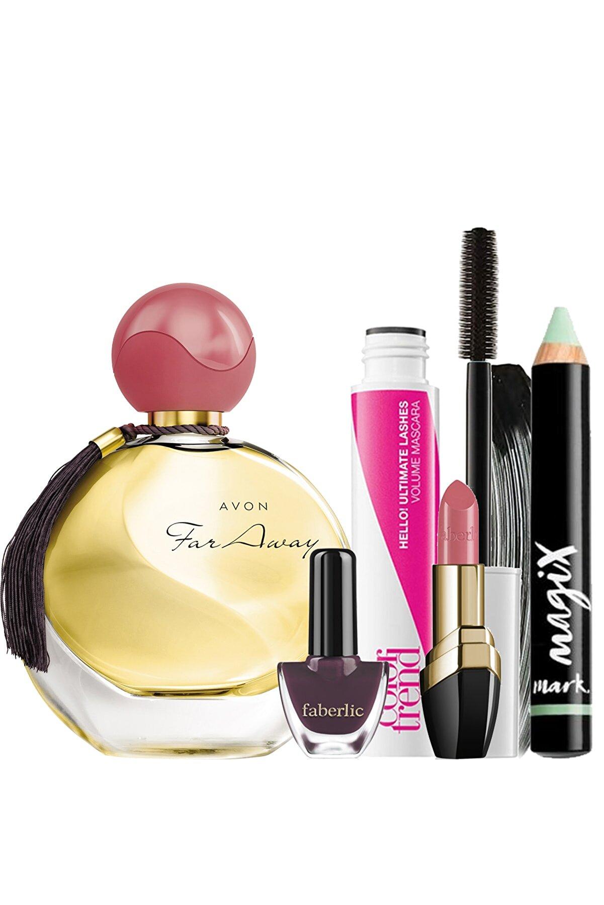 Avon Far Away Edp 50 Ml Kadın Parfüm Maskara Ve Kapatıcı Faberlic Oje Ve Ruj Hediyeli Paket