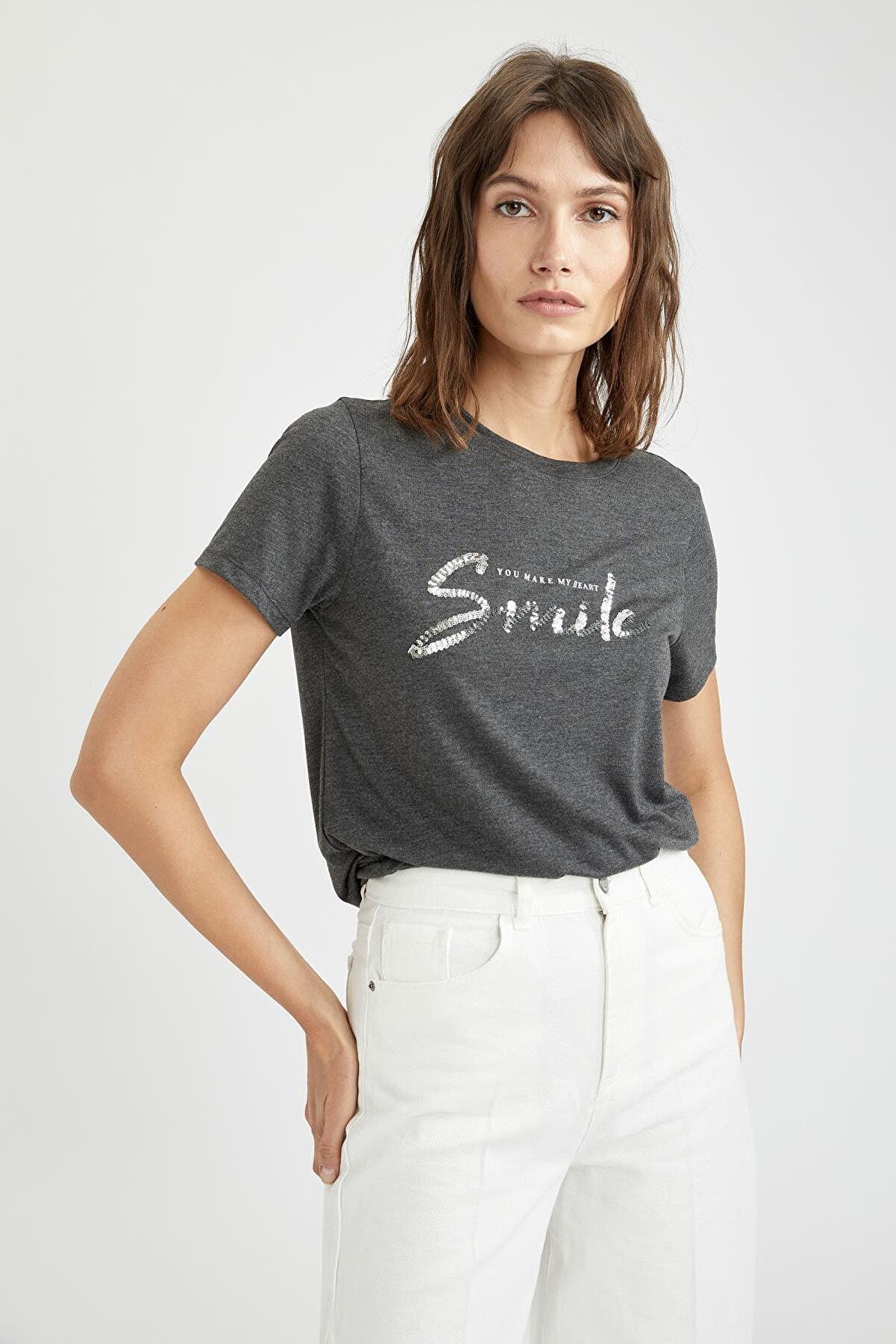 Defacto Slogan Payet Baskılı Relax Fit Kısa Kollu Tişört