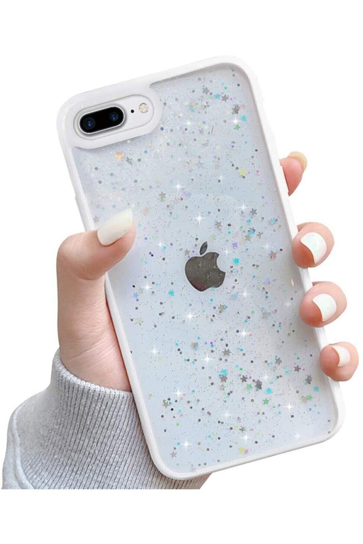 Teknoçeri Iphone 7 Plus / 8 Plus Kenarı Renkli Simli Darbe Önleyici Silikon Kılıf Beyaz