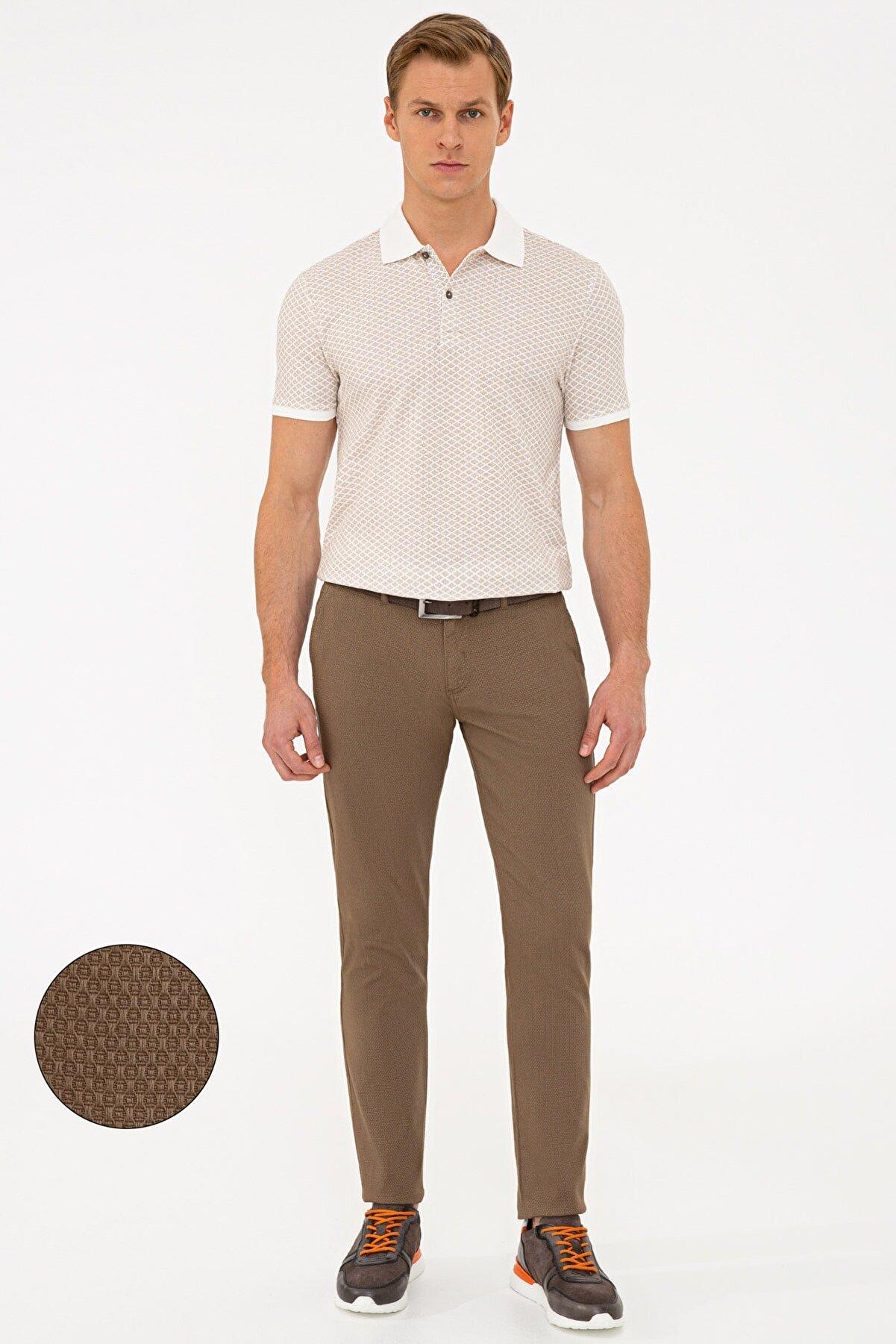 Pierre Cardin Açık Kahverengi Slim Fit Chino Pantolon