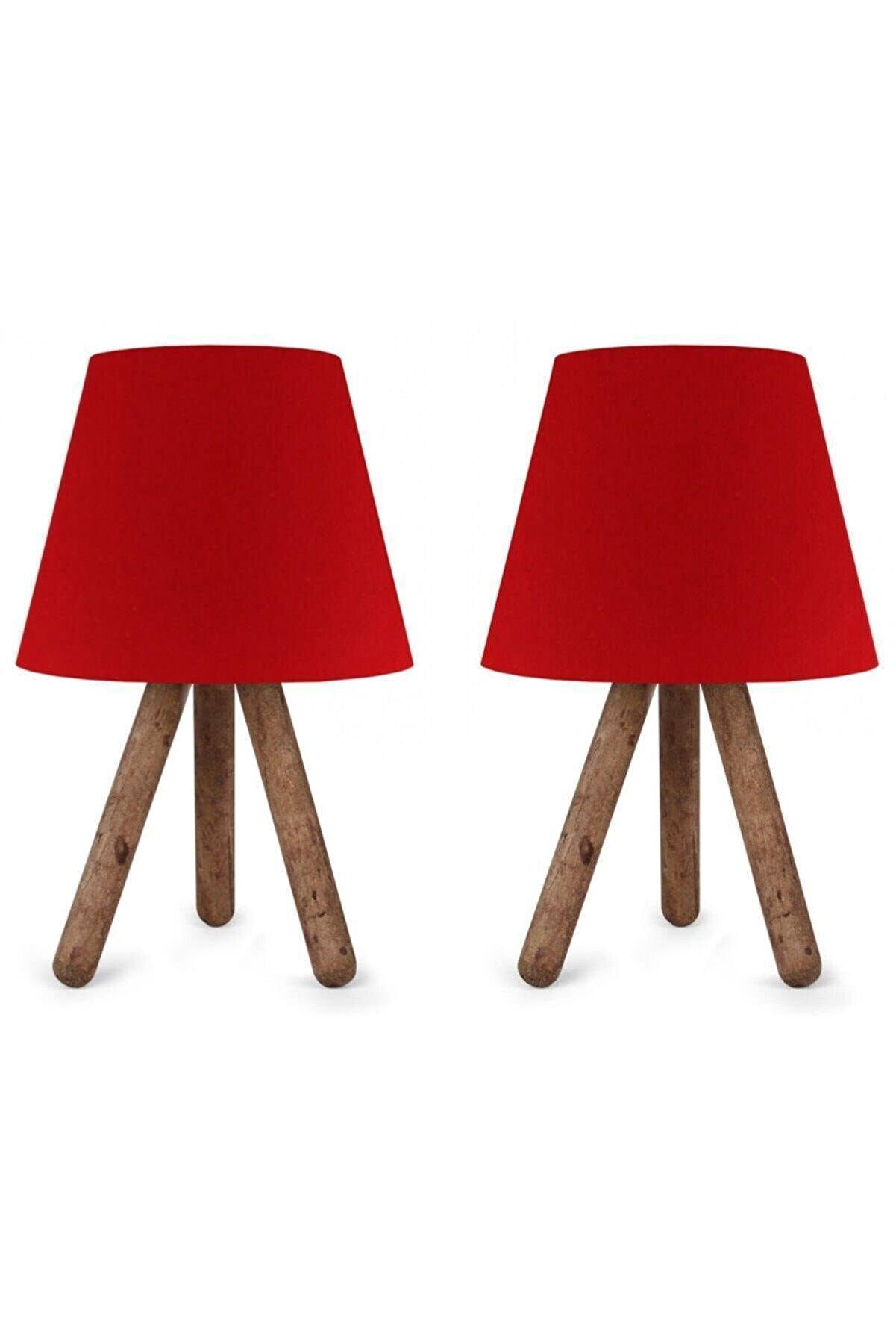 MHK Collection Lüx Tasarım 2 Adet 3 Ayaklı Abajur Kırmızı