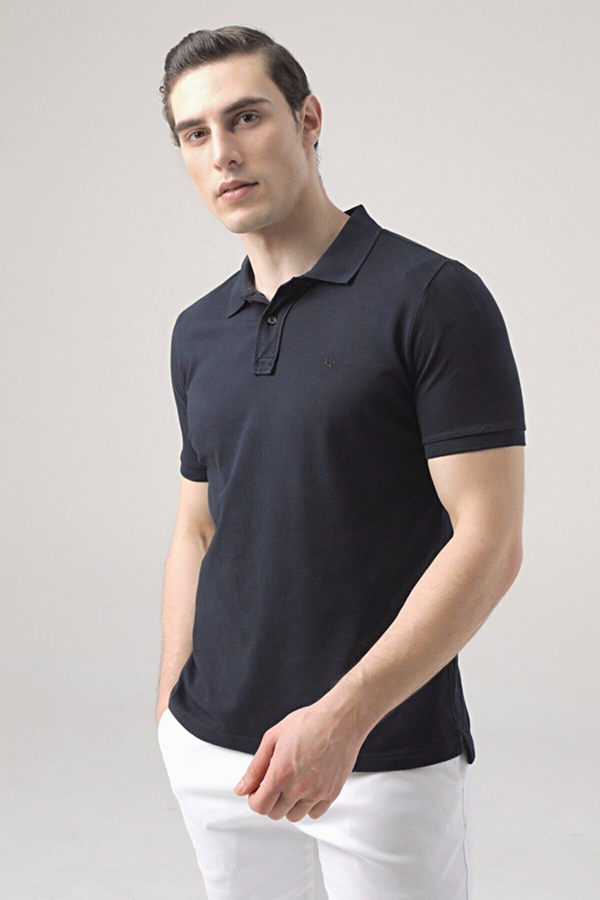 D'S Damat Erkek Lacivert Regular Fit Pike Dokulu T-shirt