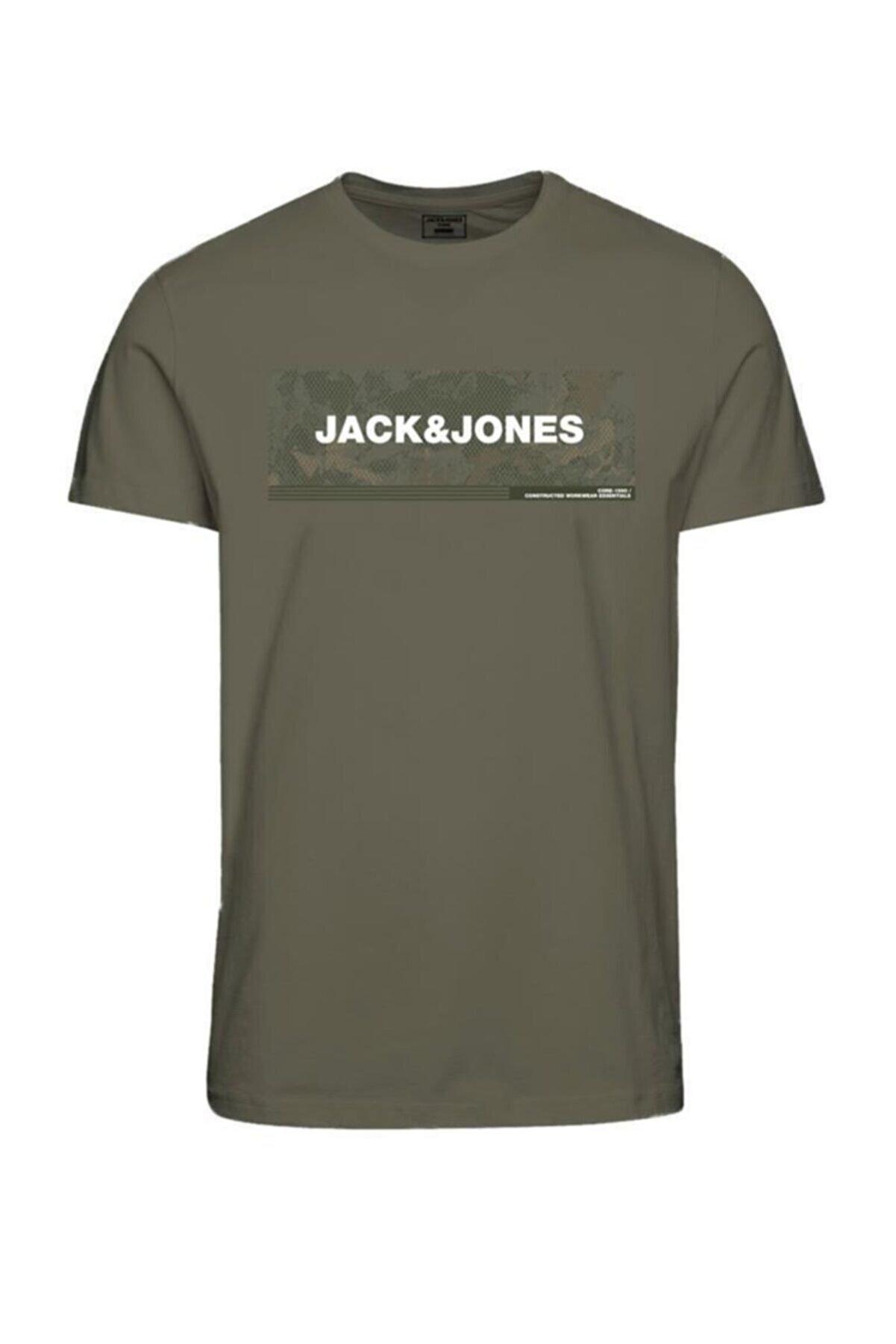 Jack & Jones Erkek Haki Baskılı T-Shirt 12188029