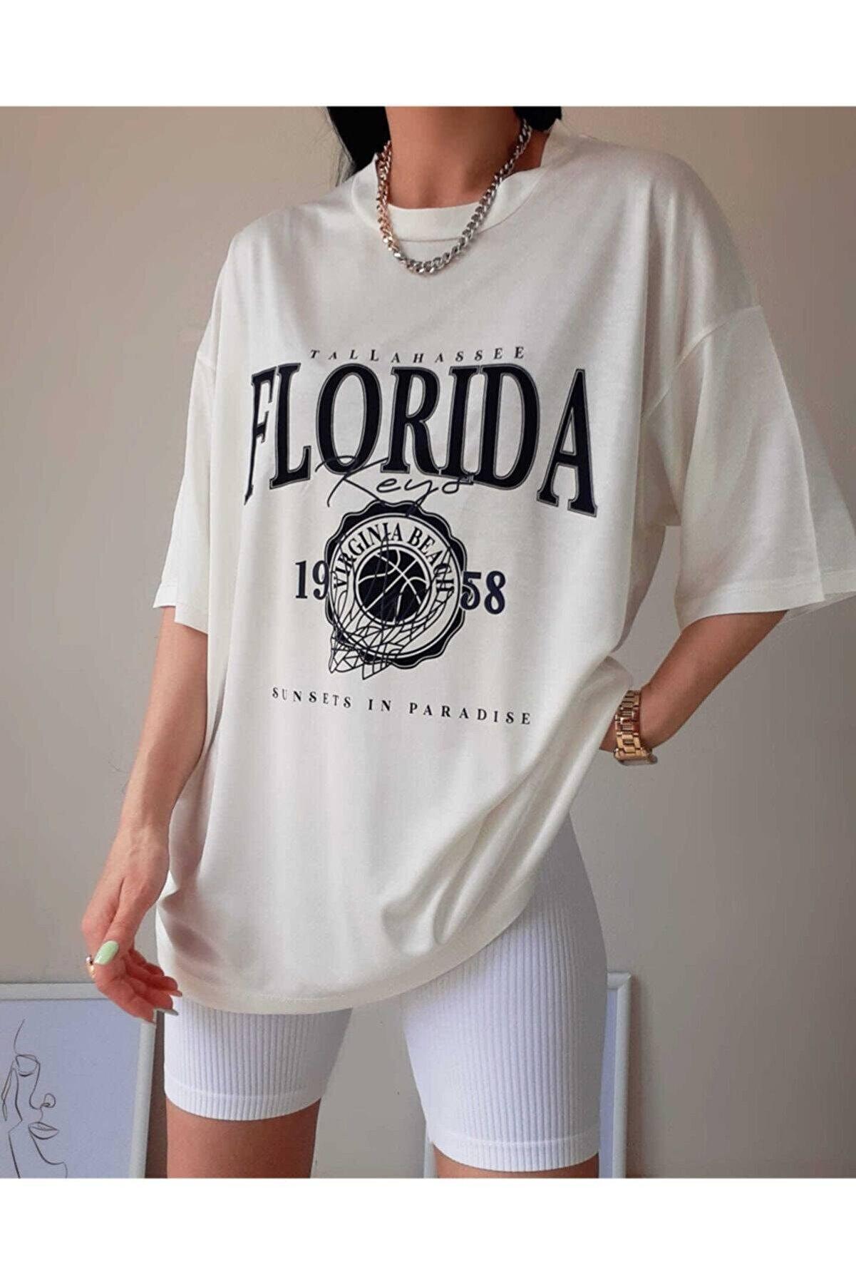 Black Sokak Beyaz Florida Baskılı Oversize Tshirt