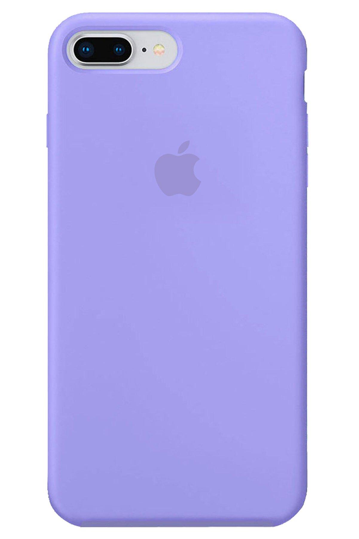 Apple Iphone 8 Plus Kılıf Logolu Lansman Altı Kapalı Içi Süet - Lila + Popsocket