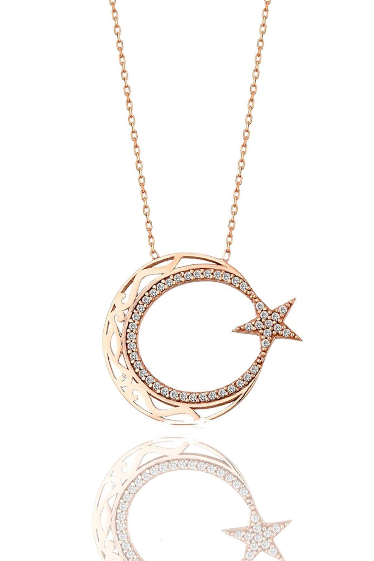 Söğütlü Silver Gümüş Rose Zirkon Taşlı Ayyıldız Modeli Rose Gümüş Kolye