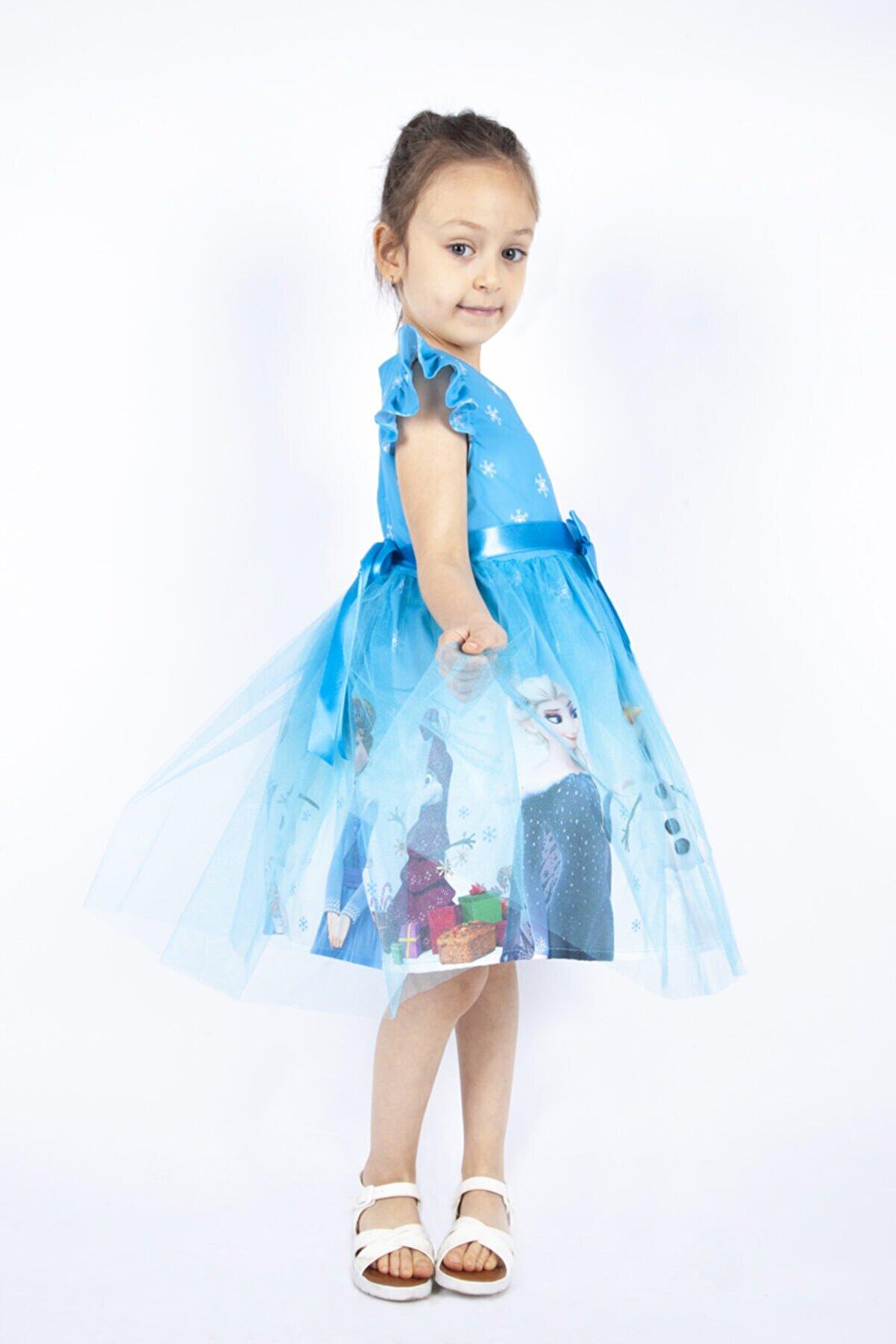 Pumpido Mavi Elsa Karlar Kraliçesi Kız Çocuk Elbisesi