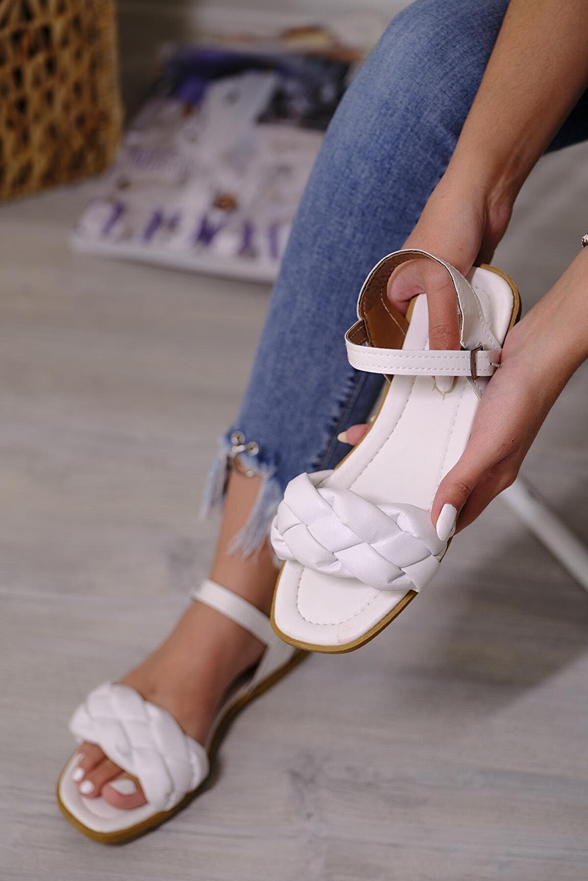 Oksit Antonia Örgü Model Kadın Sandalet