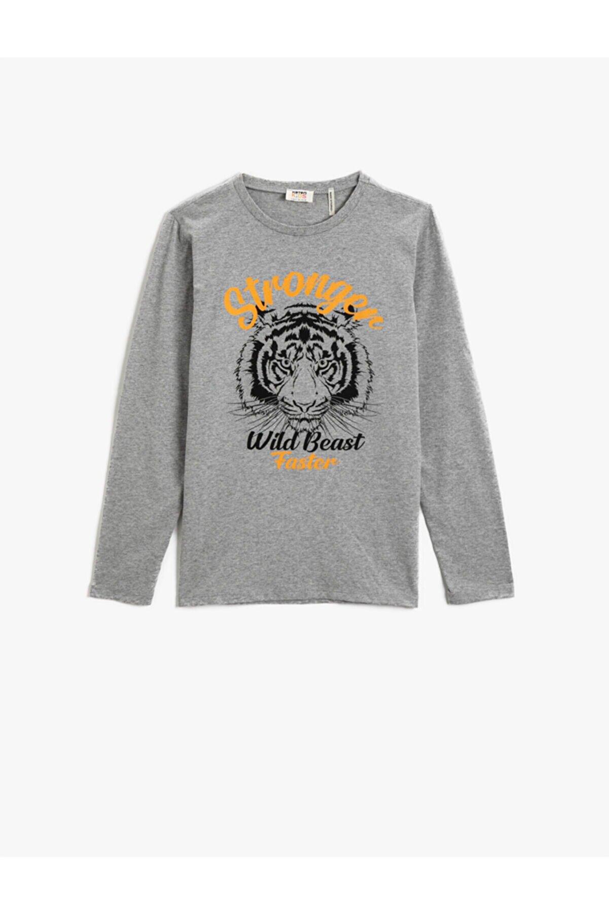 Koton Erkek Çocuk Gri Baskılı T-Shirt Uzun Kollu Pamuklu