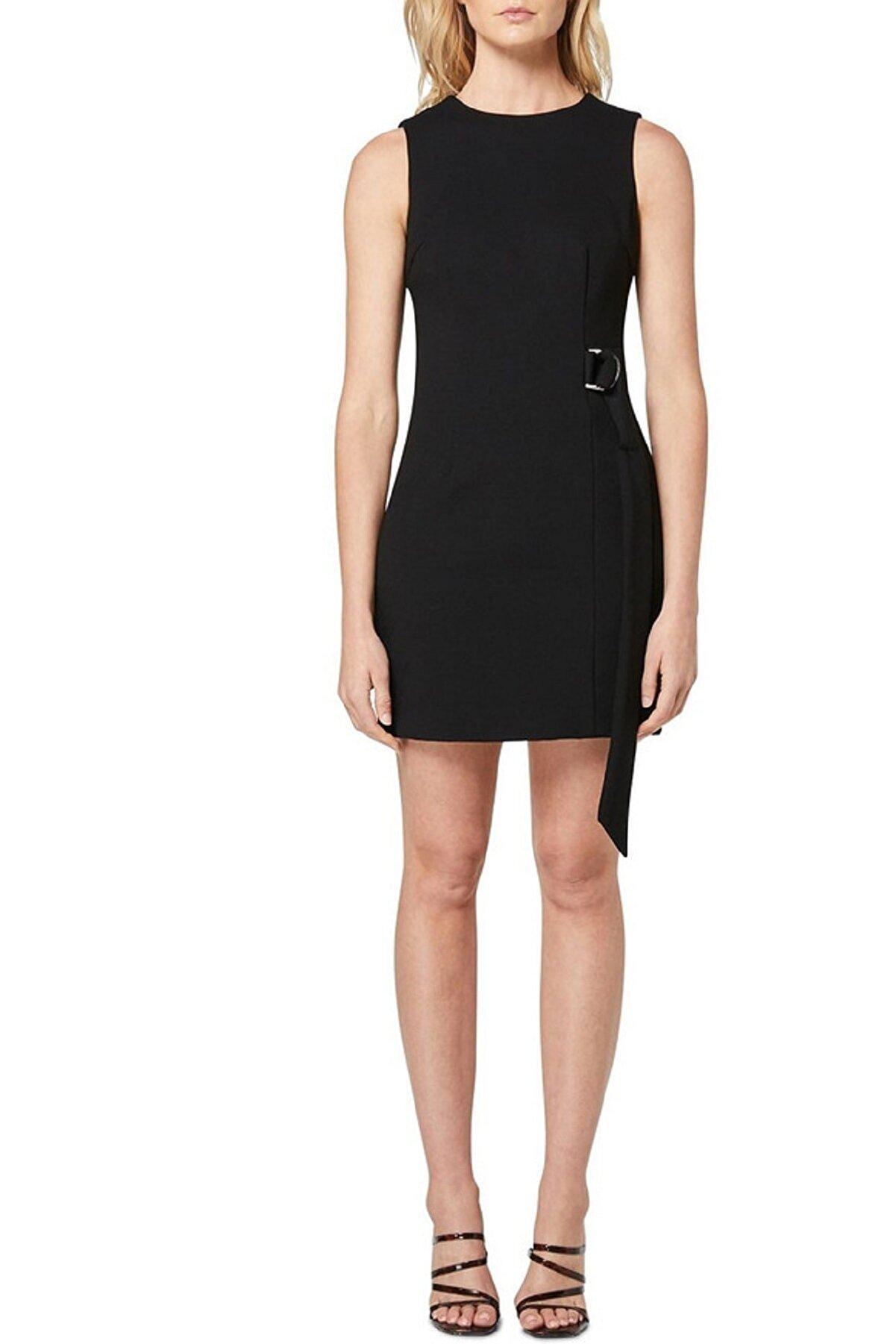 bayansepeti Esnek Krep Kumaş Kuşak Detaylı Kolsuz Siyah Mini Elbise Emr-074