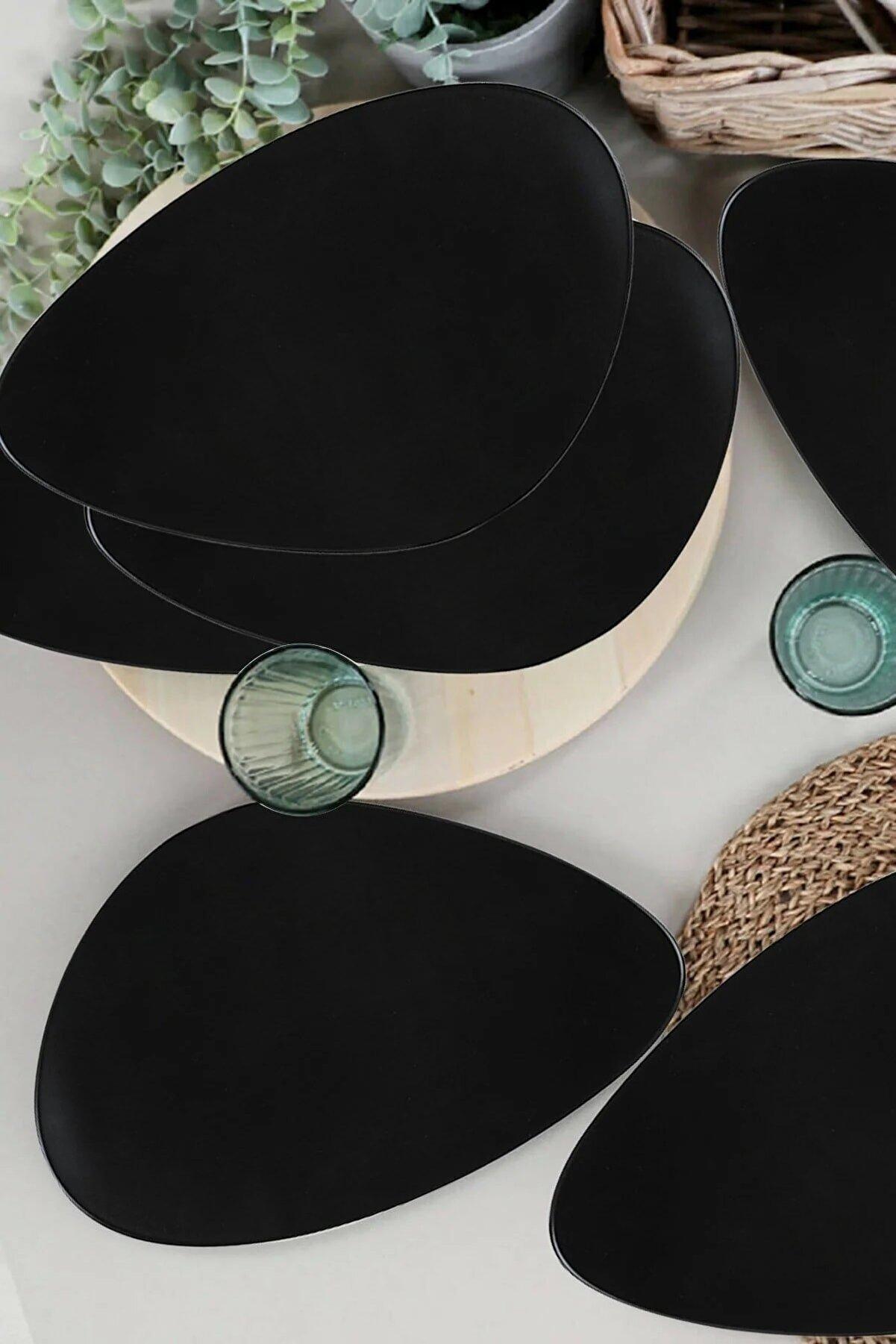 Kitchen Life Mat Siyah Oscar Servis Tabağı Seti - 35cm - 6 Adet
