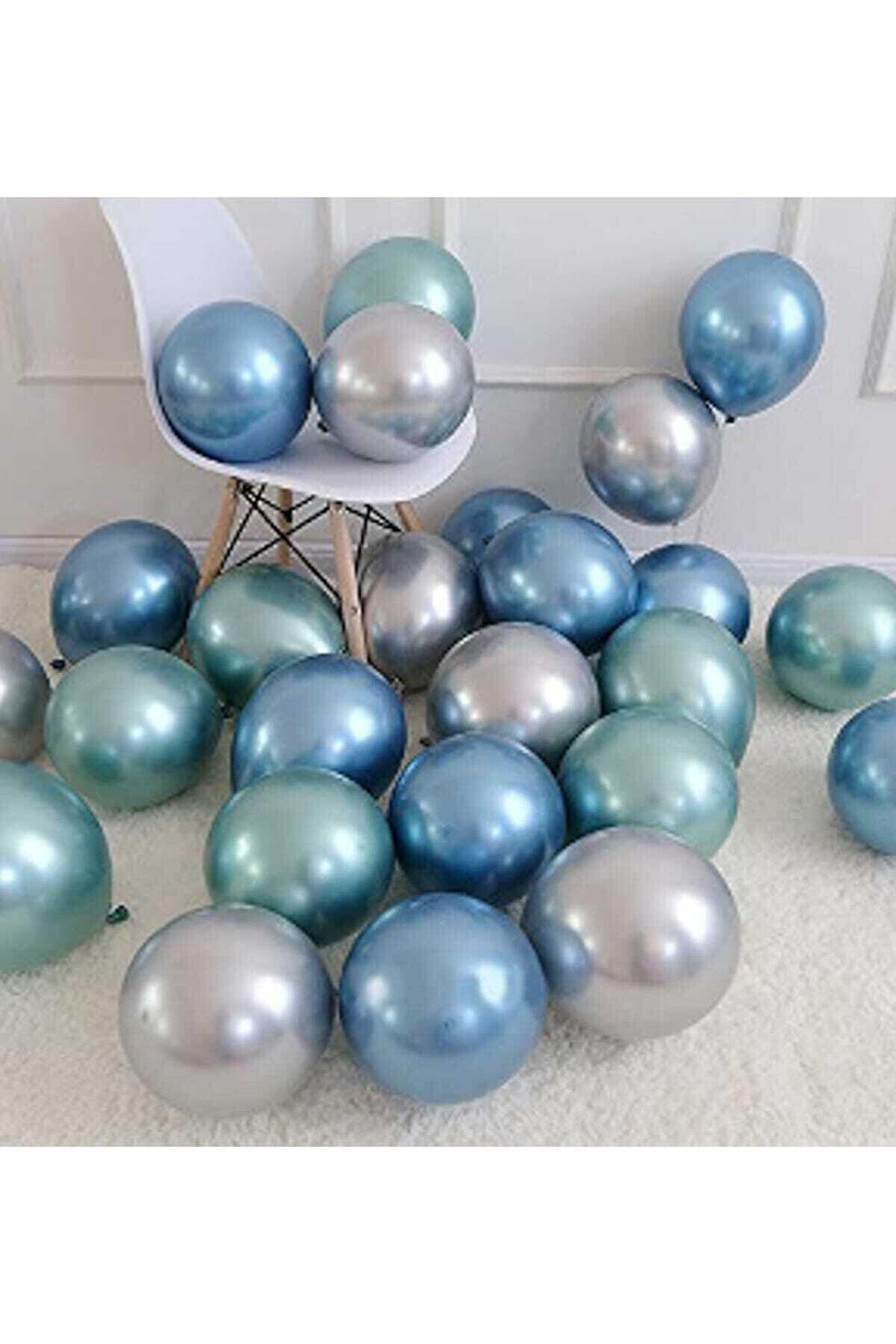 Magic Hobby Krom Parlak Metalik Yeşil-Mavi-Gümüş Renk Balon  10'lu