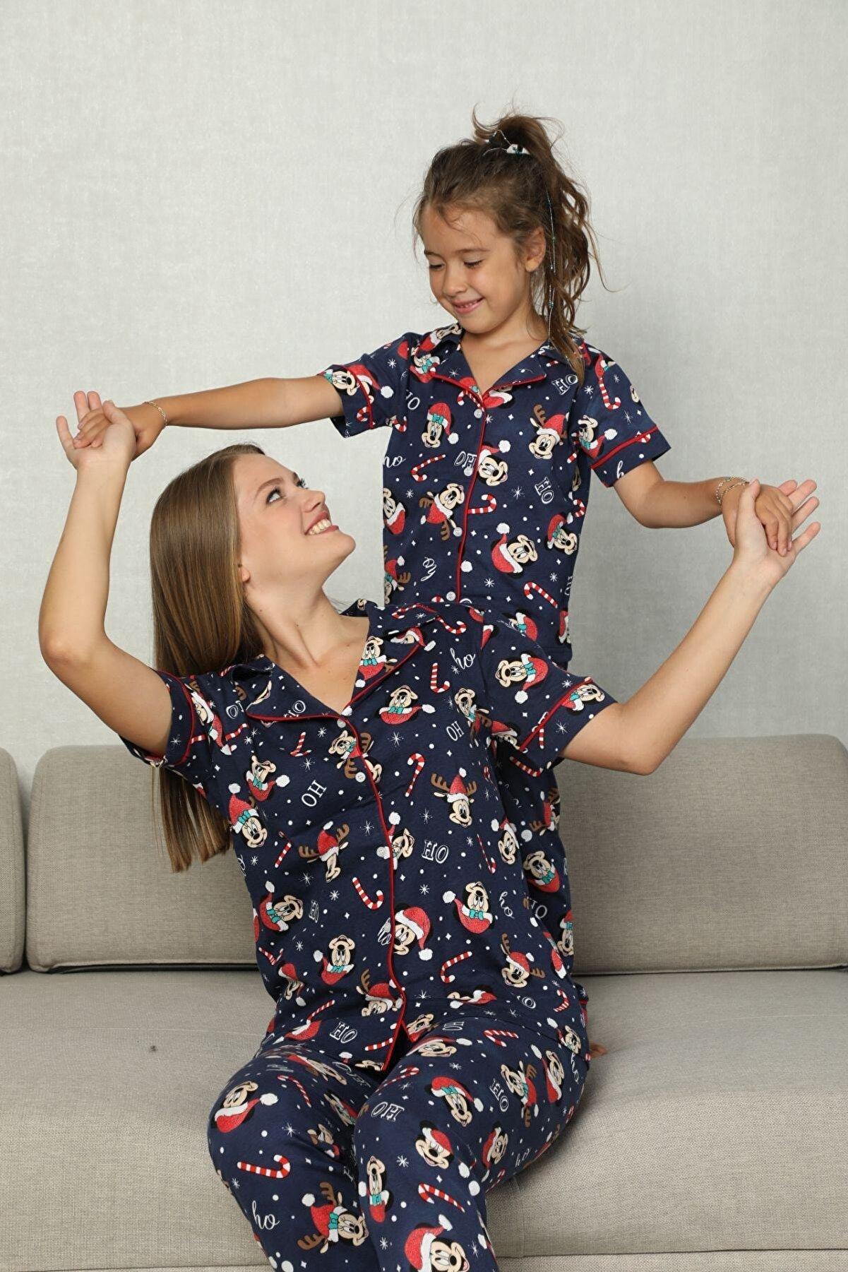 Siyah İnci Pamuklu Likrali Biyeli Düğmeli Pijama Takım