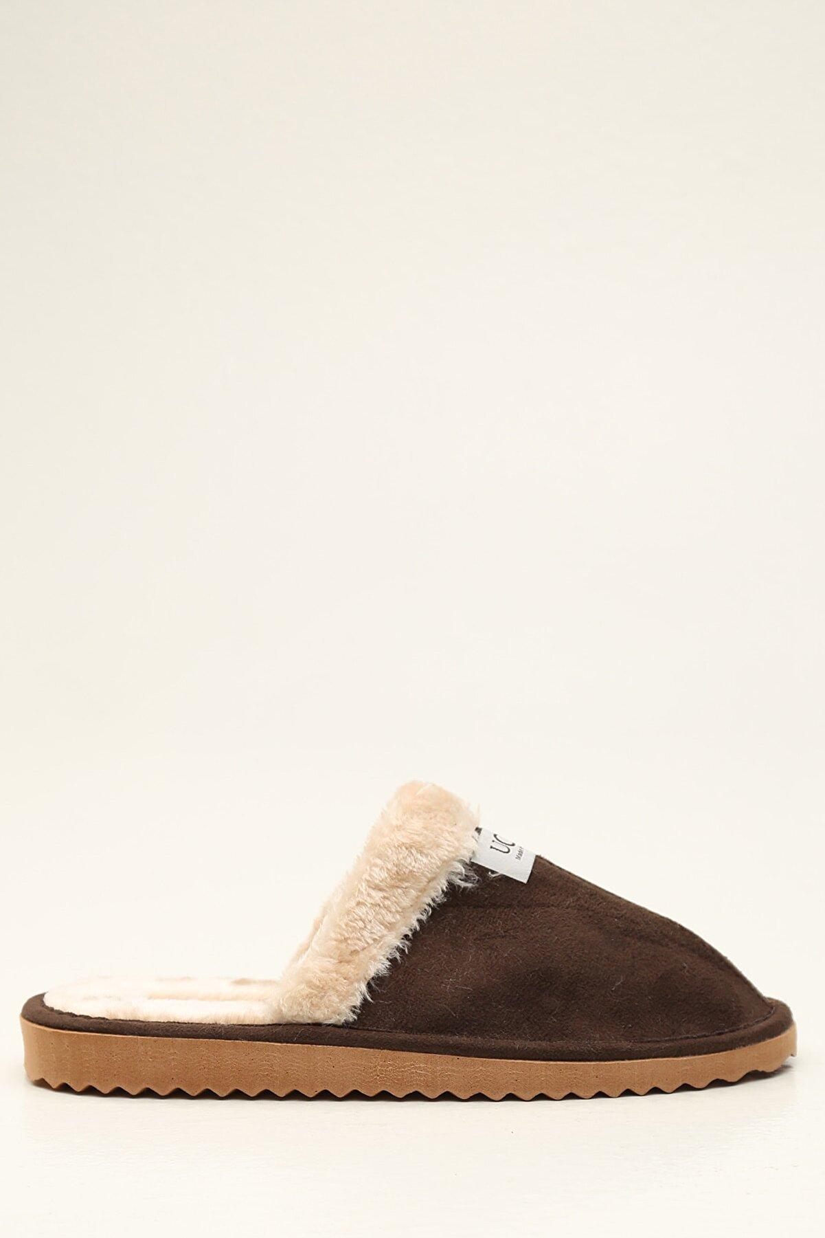 Ayakkabı Modası Erkek Kahverengi Kürklü Süet Ev Terliği