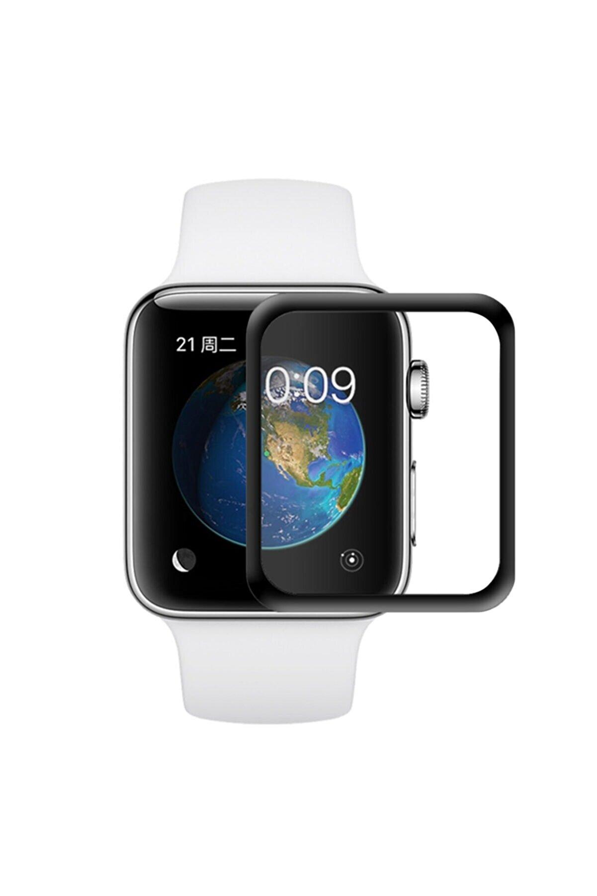 Microsonic Apple Watch Series 2 38mm 3D Kavisli Temperli Cam Full Ekran koruyucu Kırılmaz Film Siyah