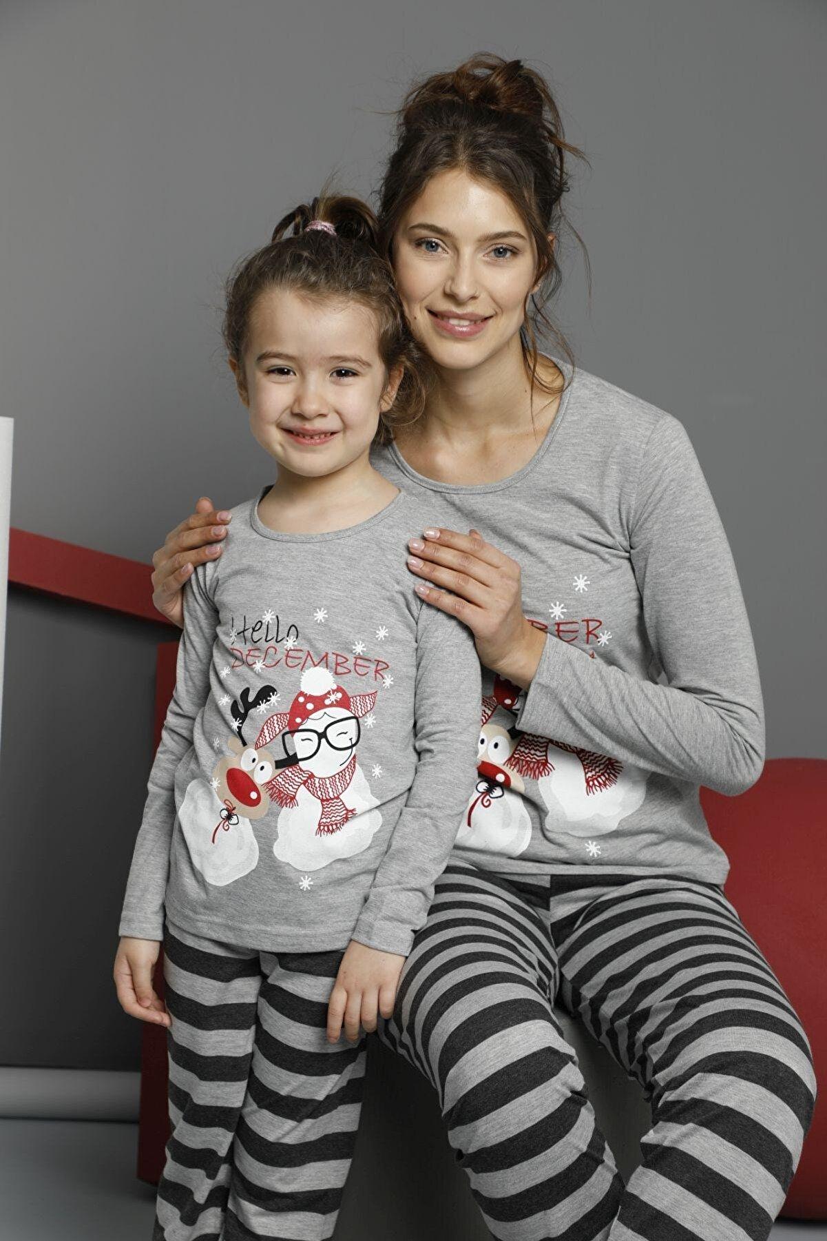 Siyah İnci Çocuk Pamuklu Likrali Pijama Takım