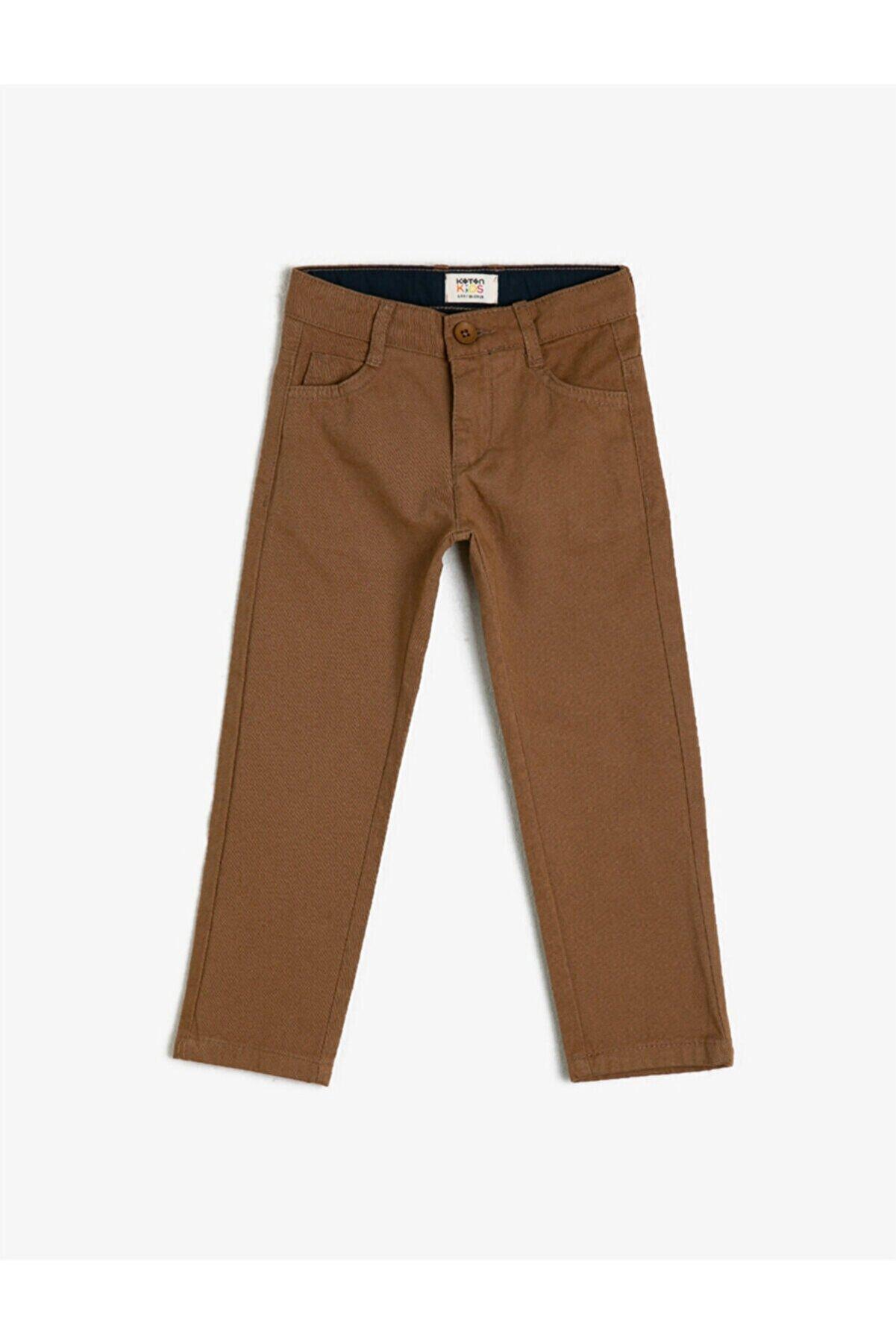 Koton Erkek Çocuk Kahverengi Pamuk Cepli Pantolon