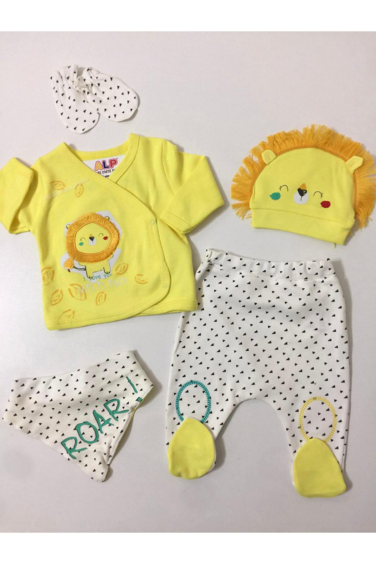 İMAJ BABY Erkek Bebek Sarı Uykucu Aslan 5 Parça Hastane Çıkış Seti Takım