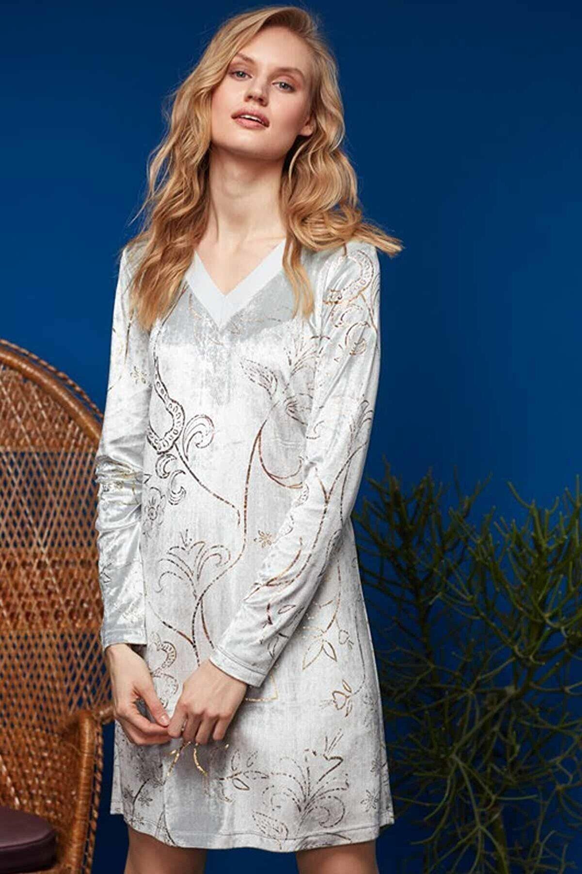 Penye Mood Kadın Gri Elbise 8635