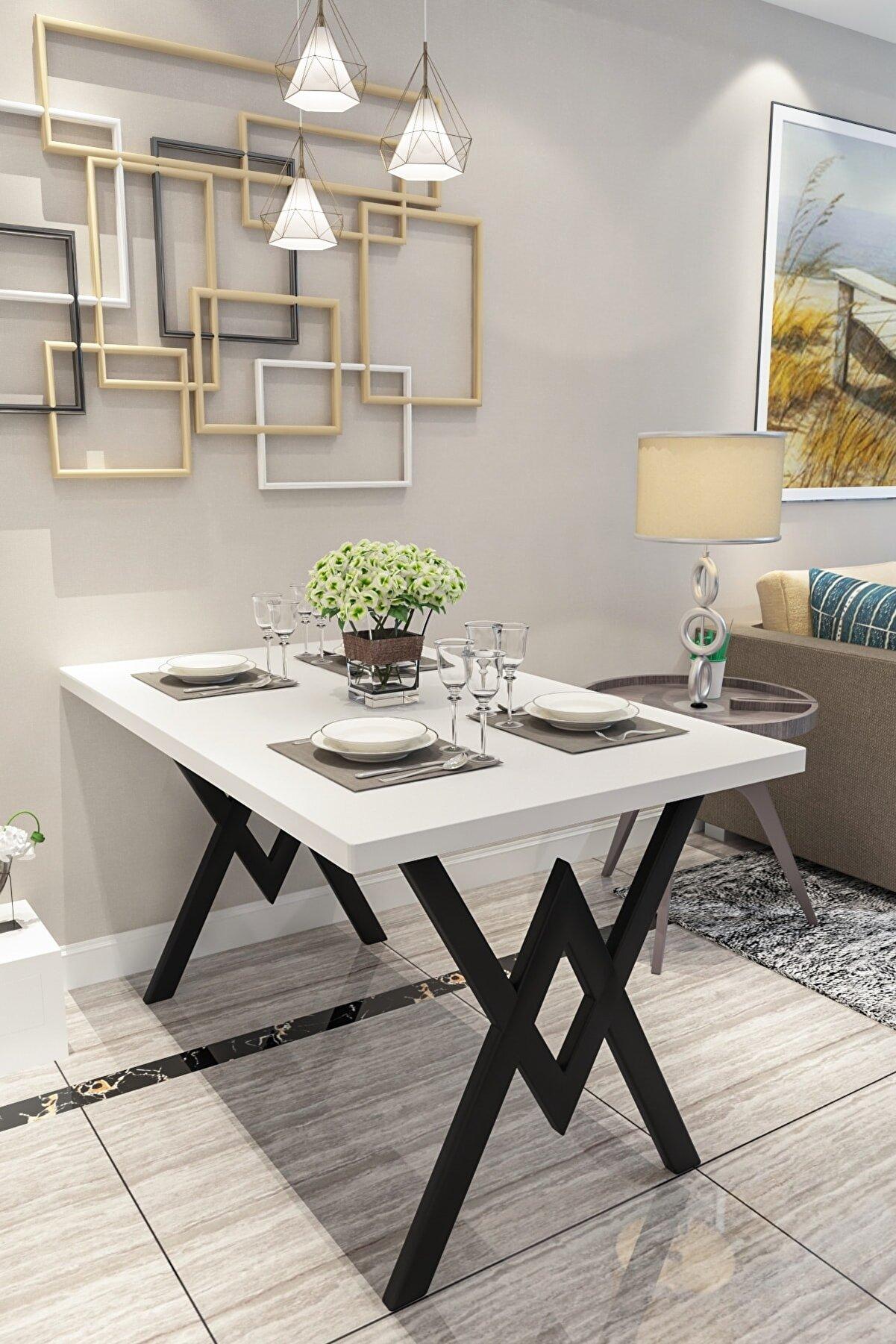 Evdemo Parla Mutfak Yemek Masası Beyaz