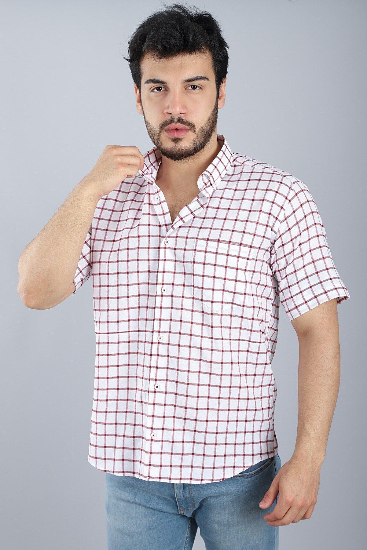 Arlin Erkek Cepli Düğmeli Normal Kalıp Kısa Kollu Beyaz Bordo Kısa Kol Gömlek