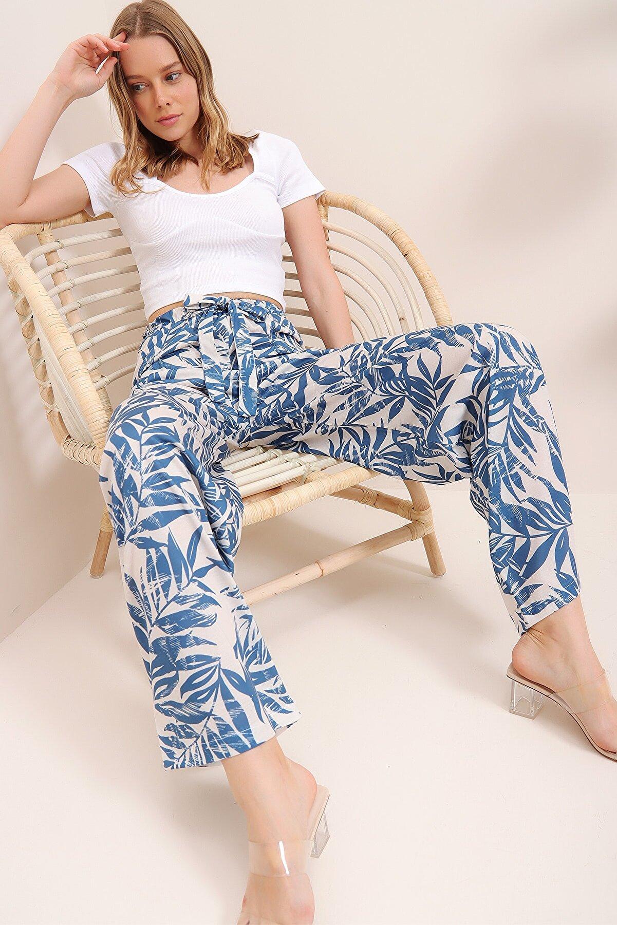 Trend Alaçatı Stili Kadın Mavi Palazzo Pantolon ALC-X6610