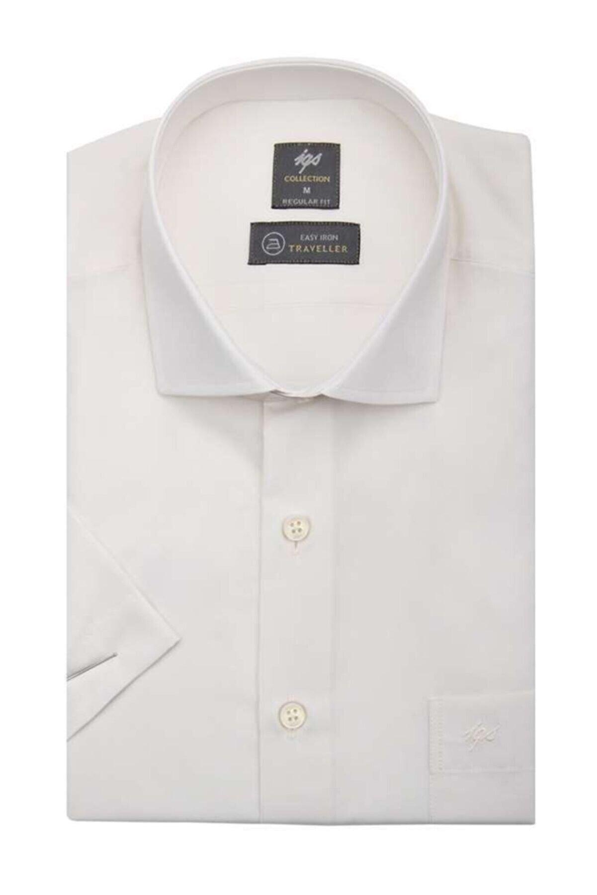 İgs Erkek Ekru Regularfıt / Rahat Kalıp Std Gömlek Kısa Kol