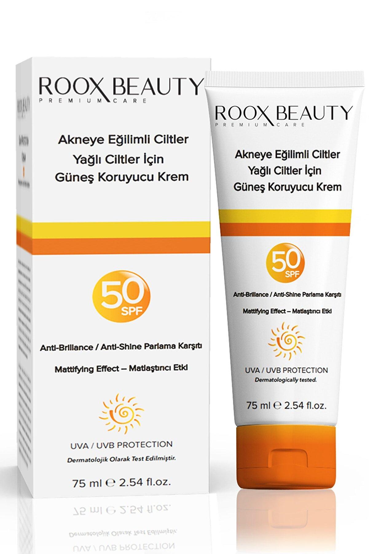 Roox Beauty Yağlı Ciltlere Özel Güneş Kremi - Leke & Parlama Karşıtı - Spf 50 Faktör Koruma 75 Ml