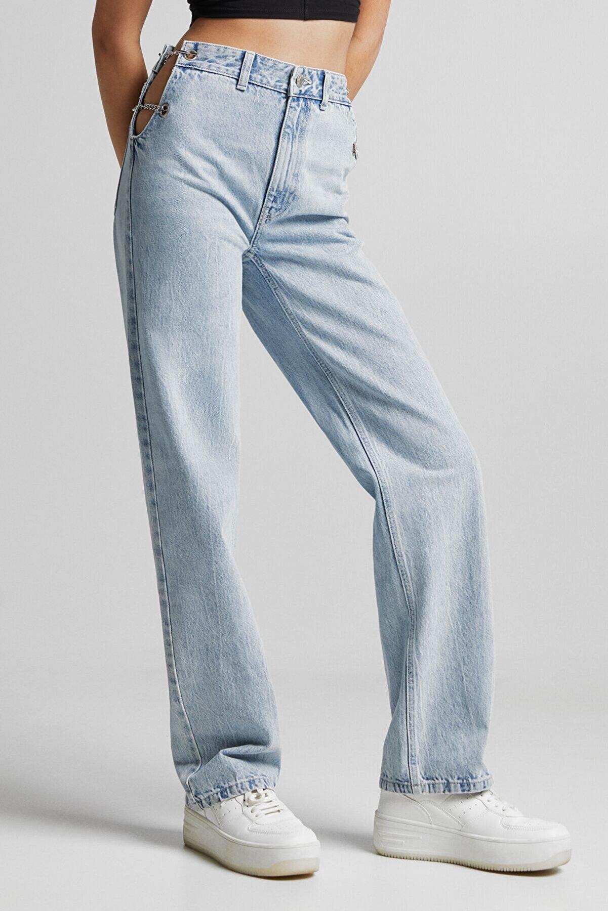 Bershka Zincir Ve Dekolte Detaylı Jean