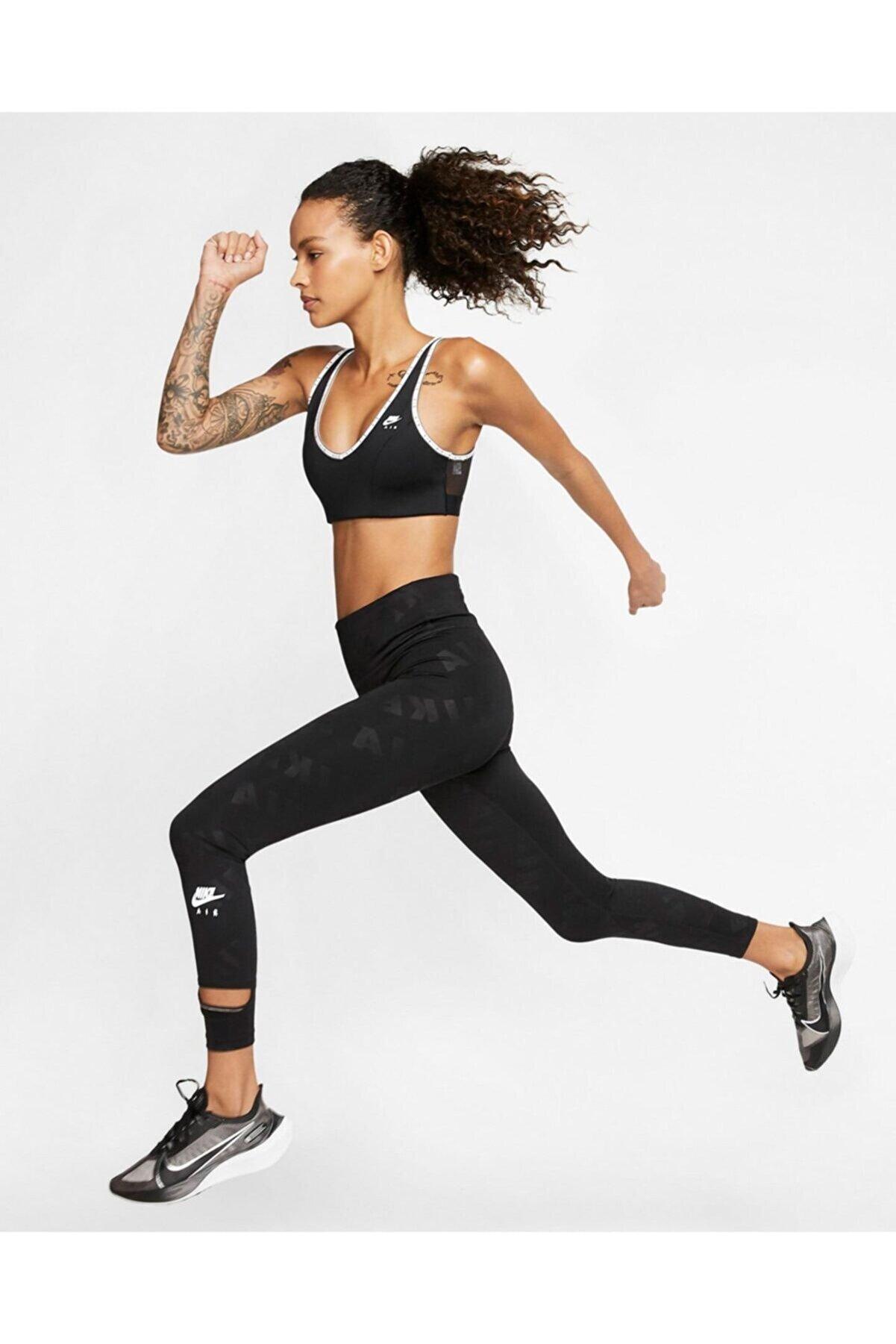 Nike Air Dry Running 7/8 High Rise Yüksek Belli Siyah Koşu Taytı