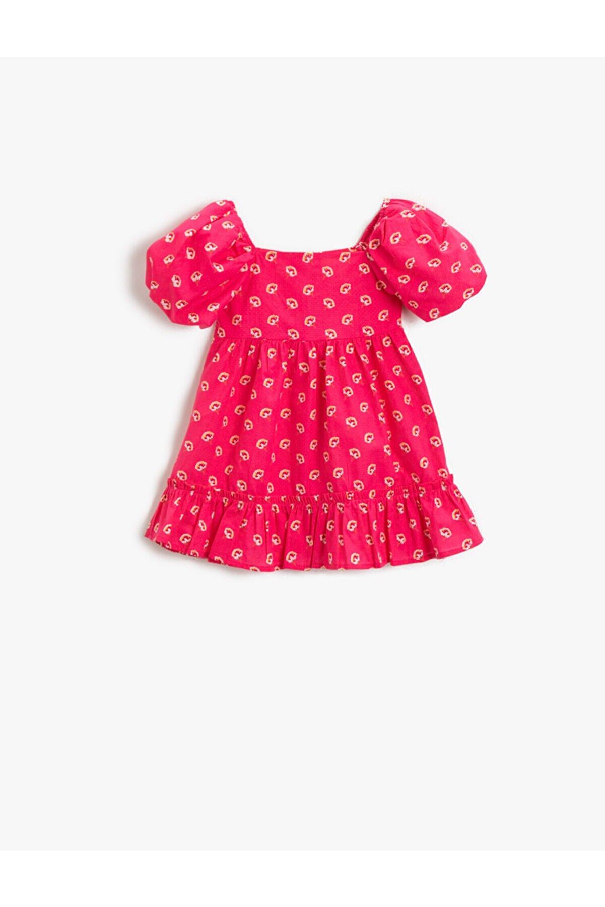 Koton Kız Bebek Pembe Desenli Elbise