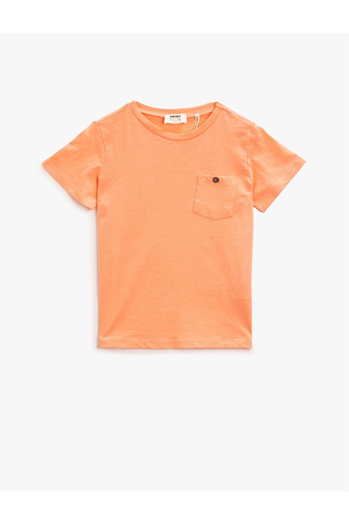 Koton Erkek Çocuk Pudra Düz Pamuklu Cepli Bisiklet Yaka Kisa Kollu T-Shirt