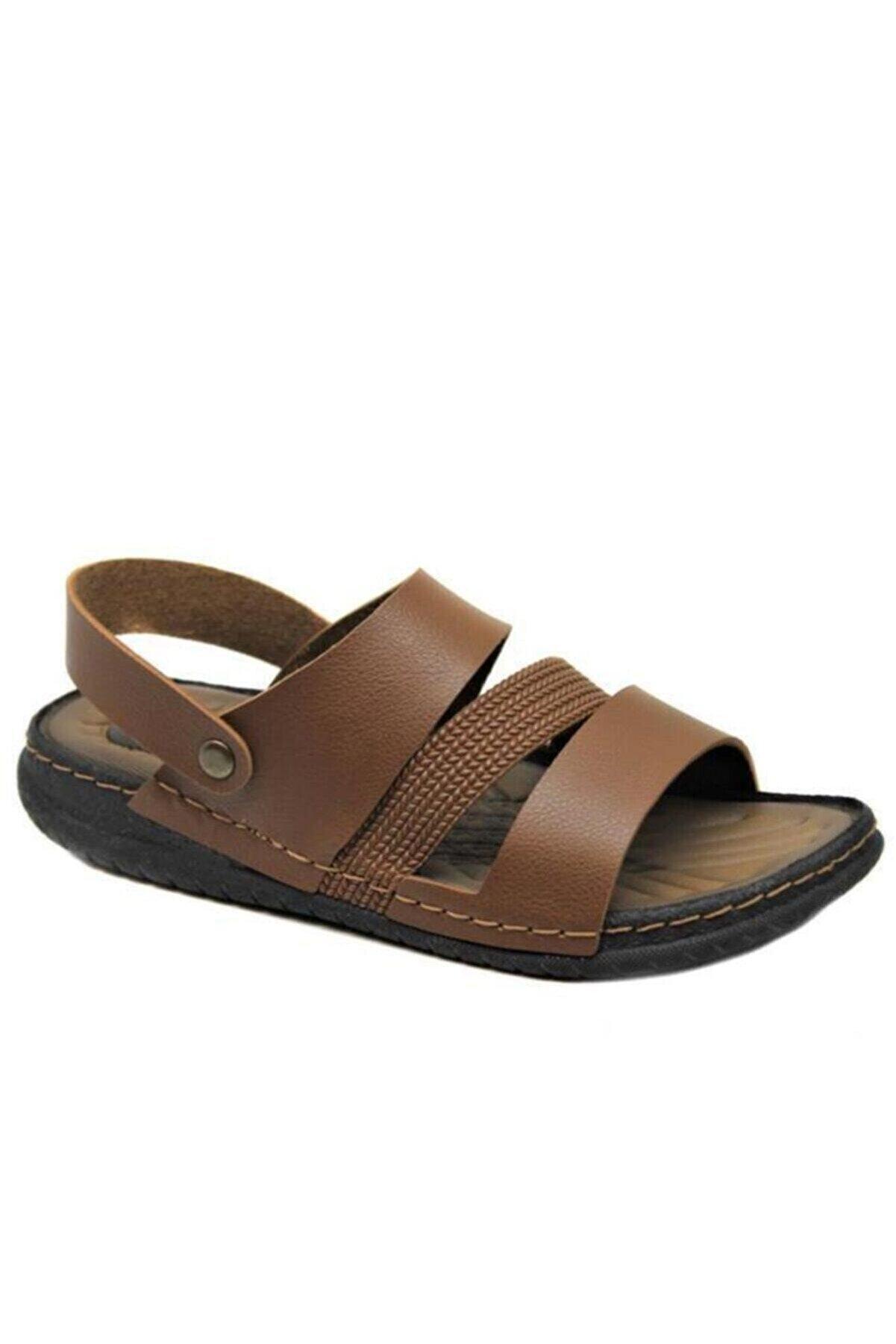 Gezer Erkek Tam Ortapedik Taba Renkli Günlük Bahçe Outdoor Sandalet Terlik- Altın Adım Ayakkabı