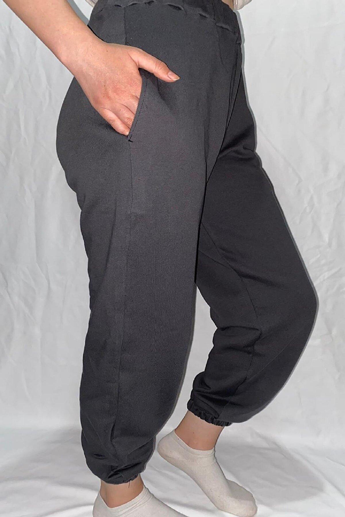 Modoo Tekstil Unisex Antrasit Paçası Lastikli Eşofman Altı
